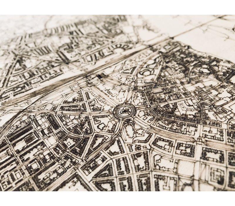 Citymap Nijmegen   houten wanddecoratie