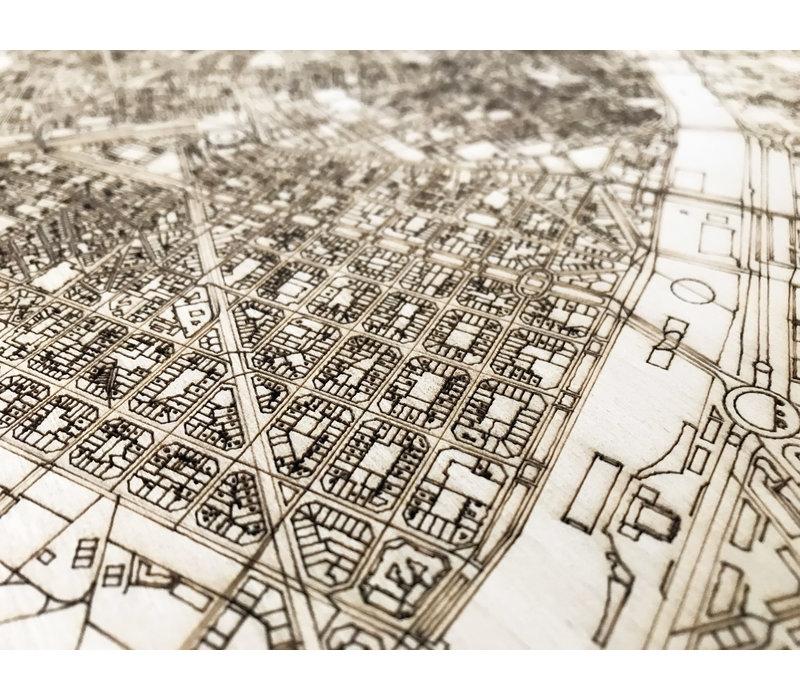 Stadtplan Valencia | Wanddekoration Holz