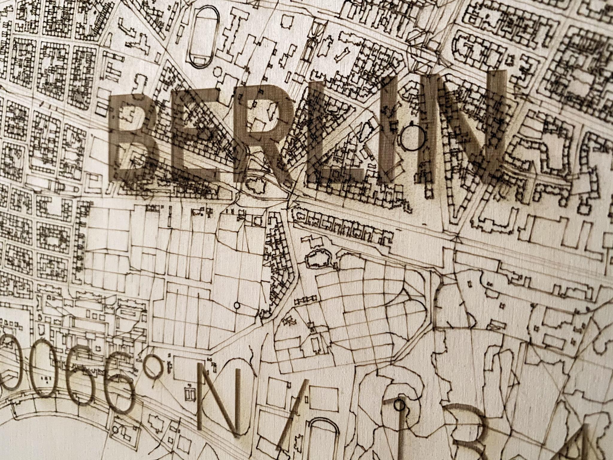 Wall decoration Citymap Berlin | Wooden wall panel-4
