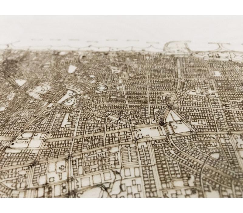 Citymap Tel Aviv | houten wanddecoratie
