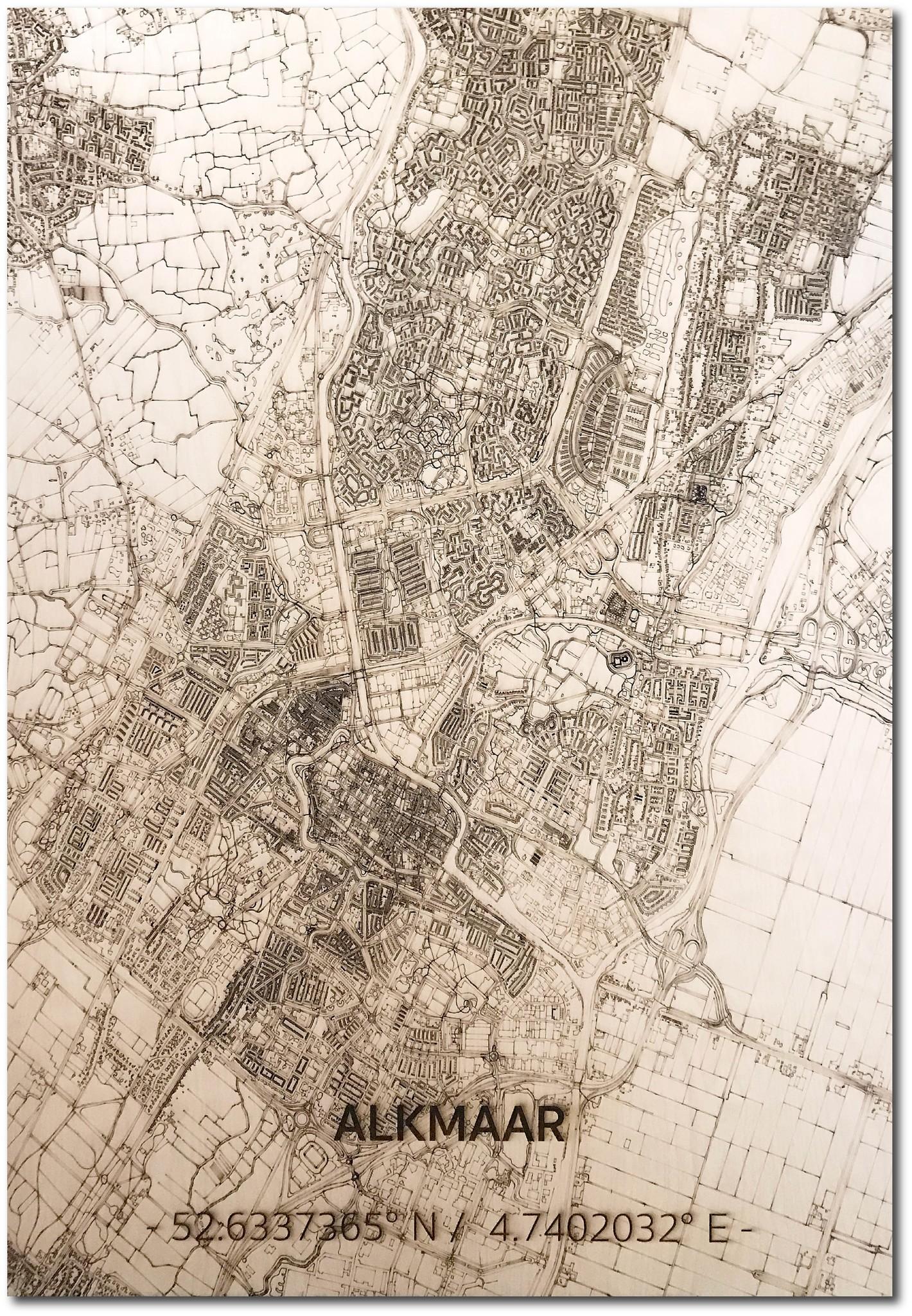 Stadtplan Alkmaar | Wanddekoration Holz-1