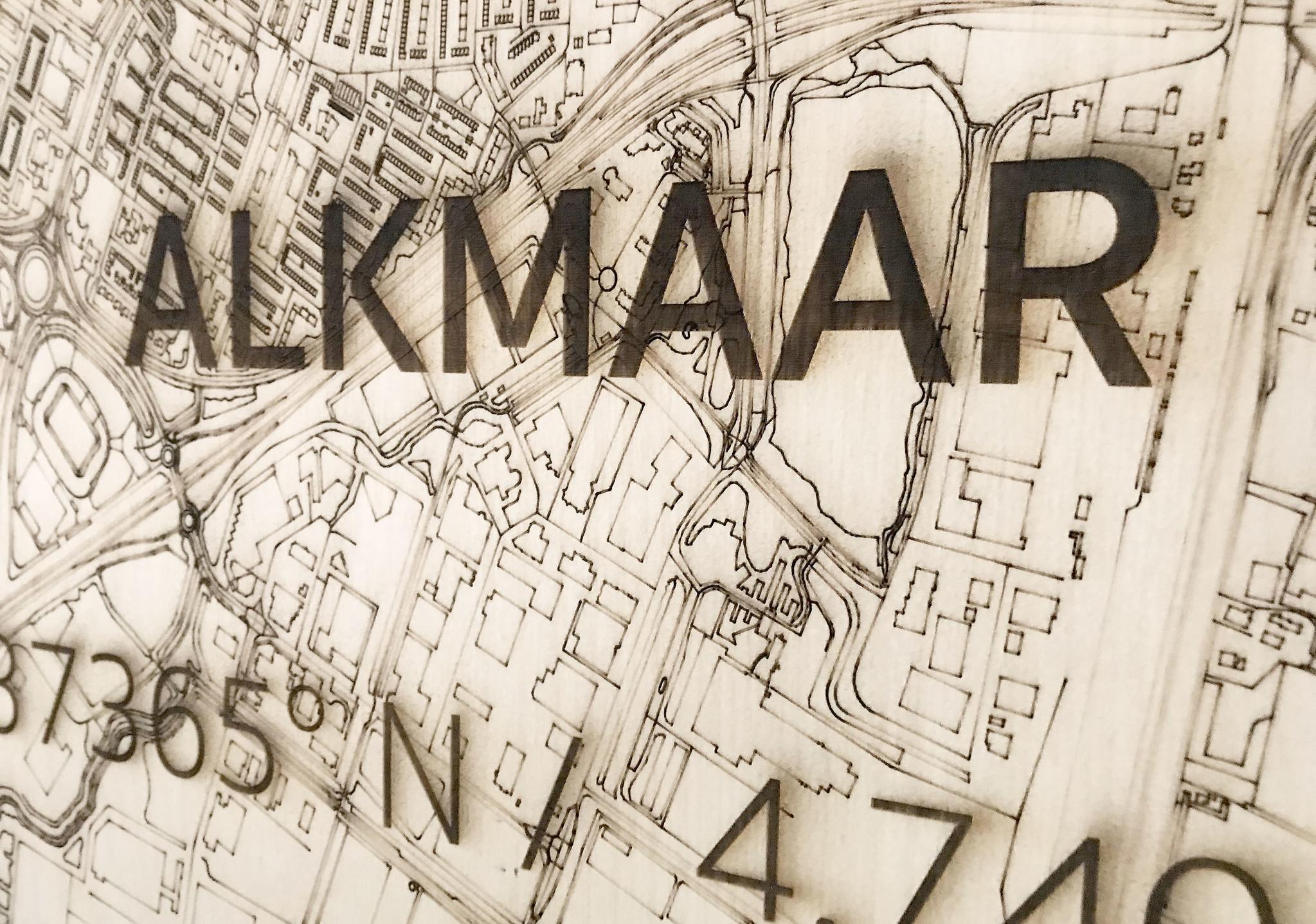 Stadtplan Alkmaar | Wanddekoration Holz-3