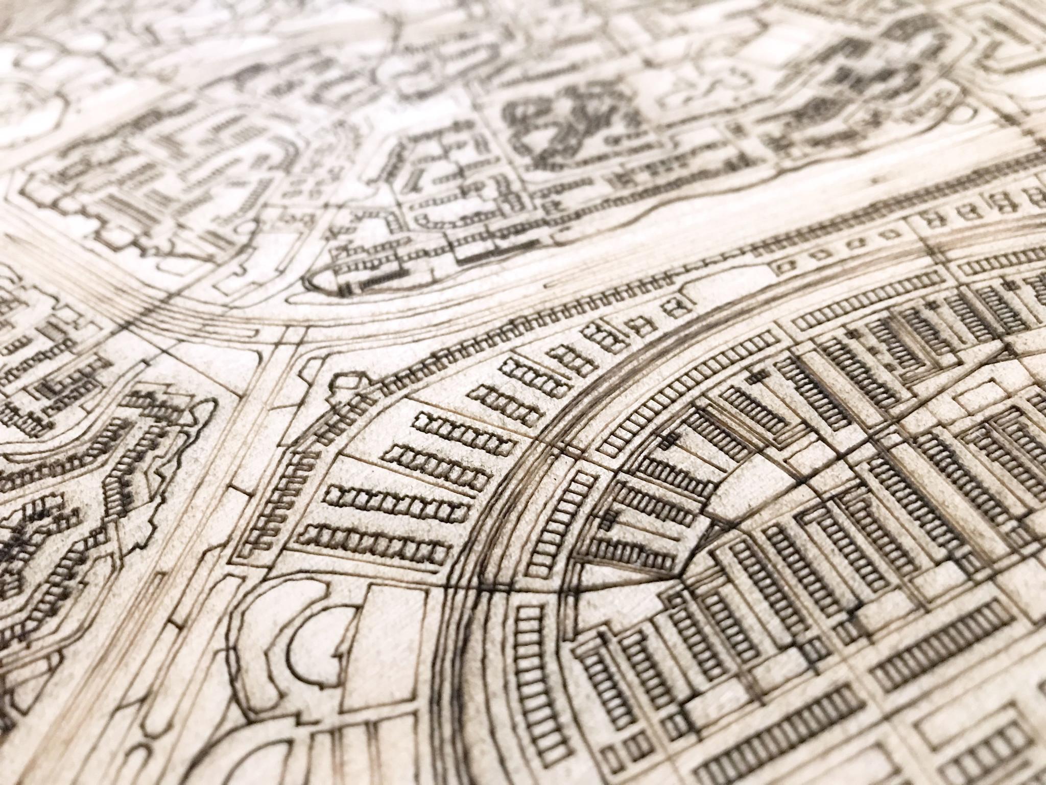 Stadtplan Alkmaar | Wanddekoration Holz-4