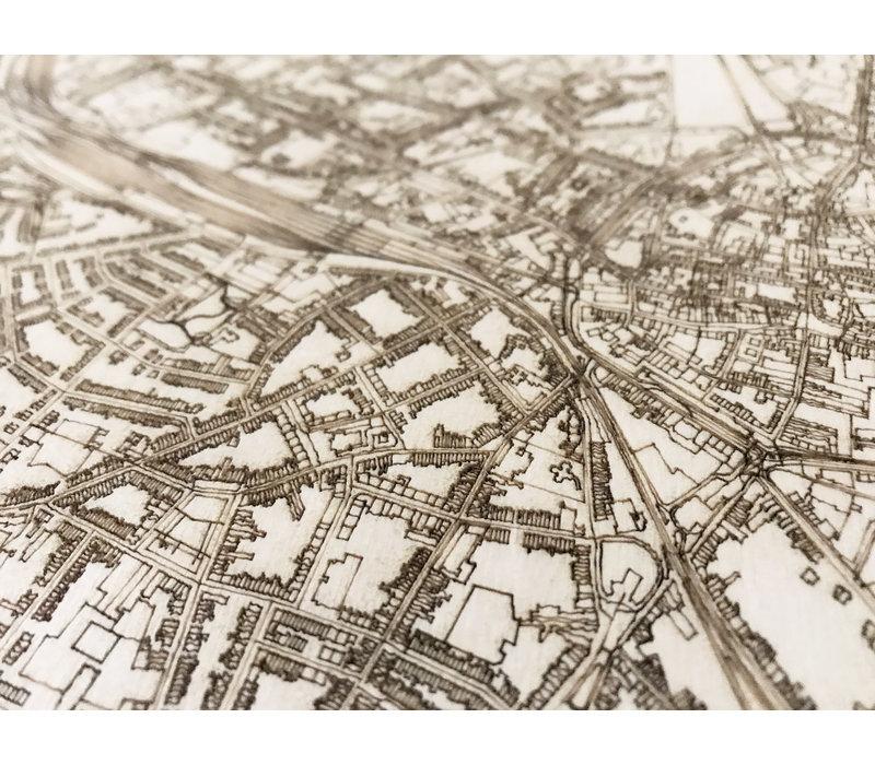 Citymap Hasselt | houten wanddecoratie