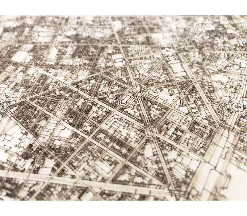 Stadtplan Lille | Wanddekoration Holz