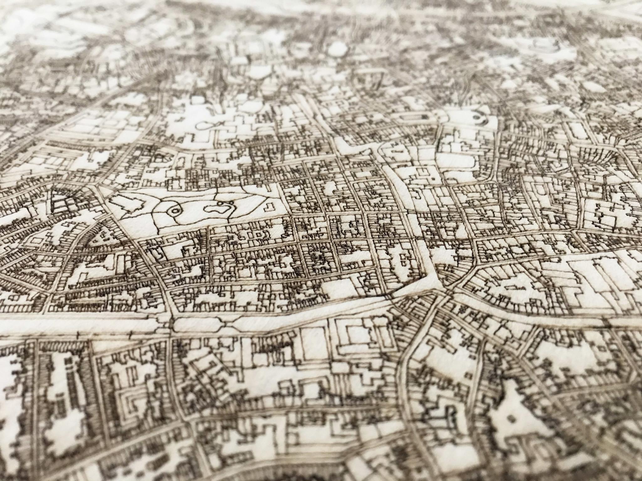 Wandbild Stadtplan Brugge | Wanddekoration Holz-3