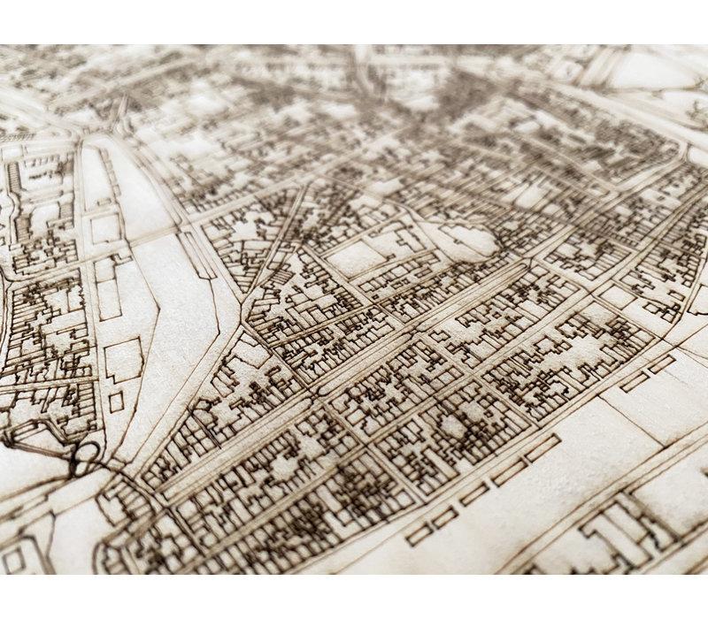 Wanddekoration aus Holz Wandbild Enkhuizen Stadtplan