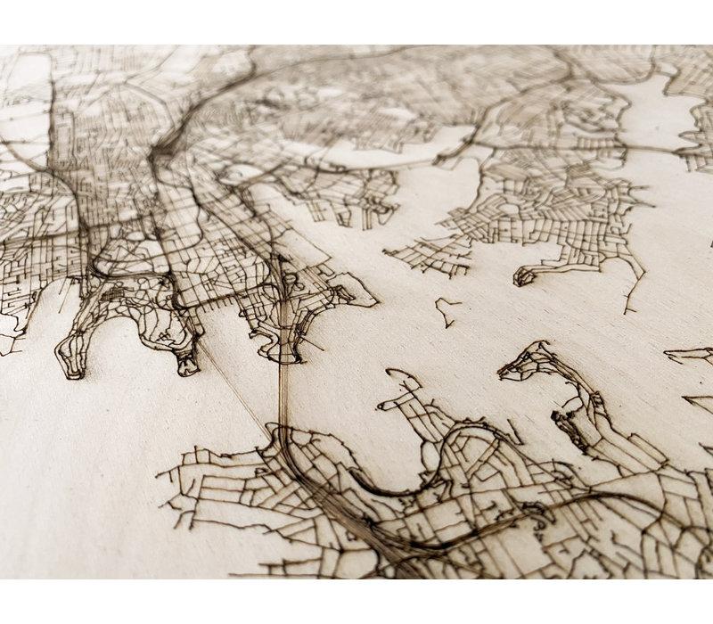 Stadtplan Sydney | Wanddekoration Holz