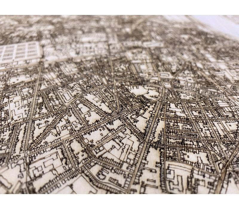 Citymap Bordeaux | houten wanddecoratie