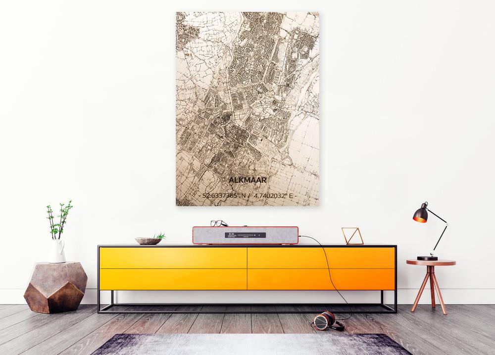 Stadtplan Alkmaar | Wanddekoration Holz-2