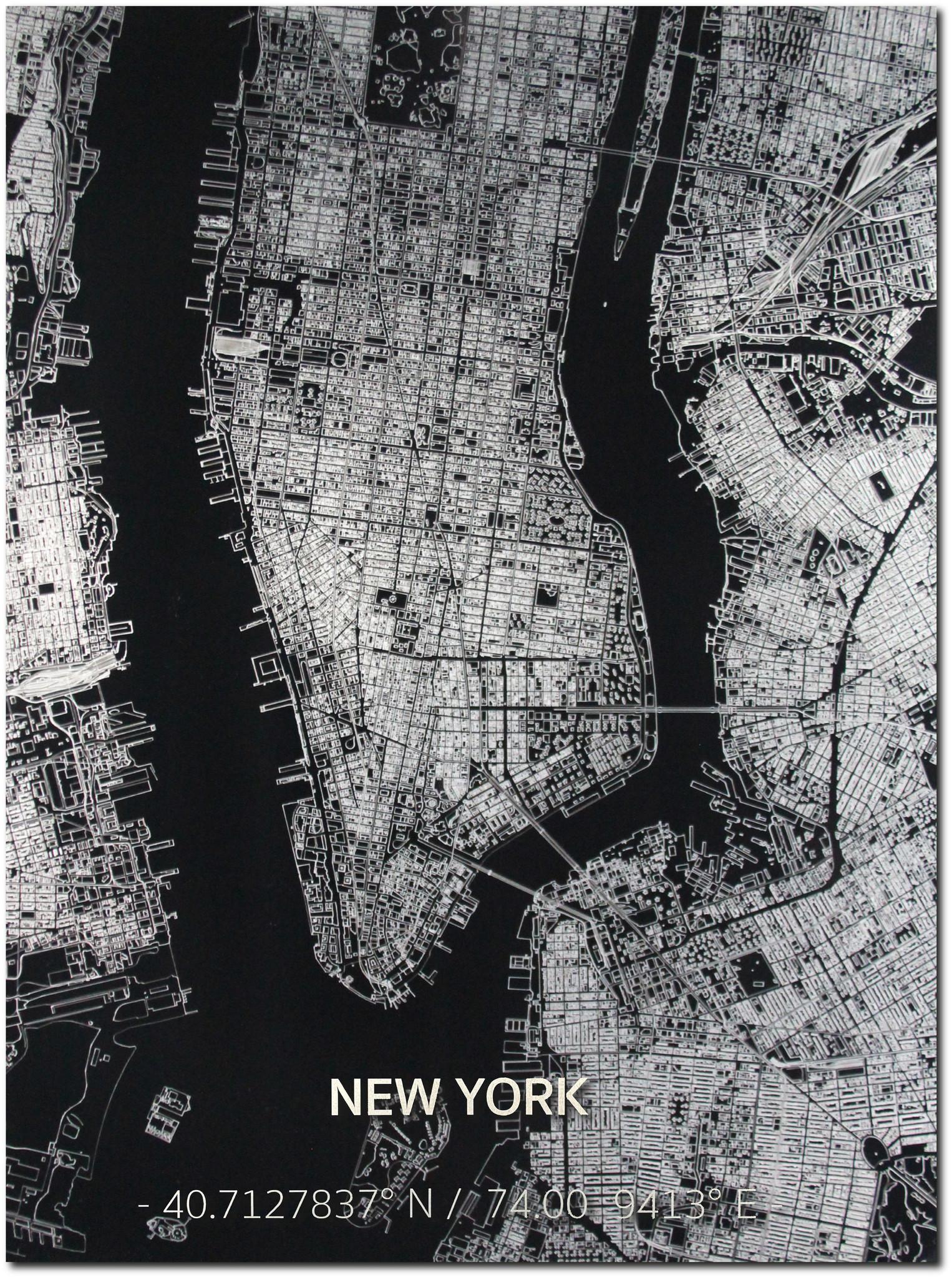 Citymap New York | Aluminium wanddecoratie-1