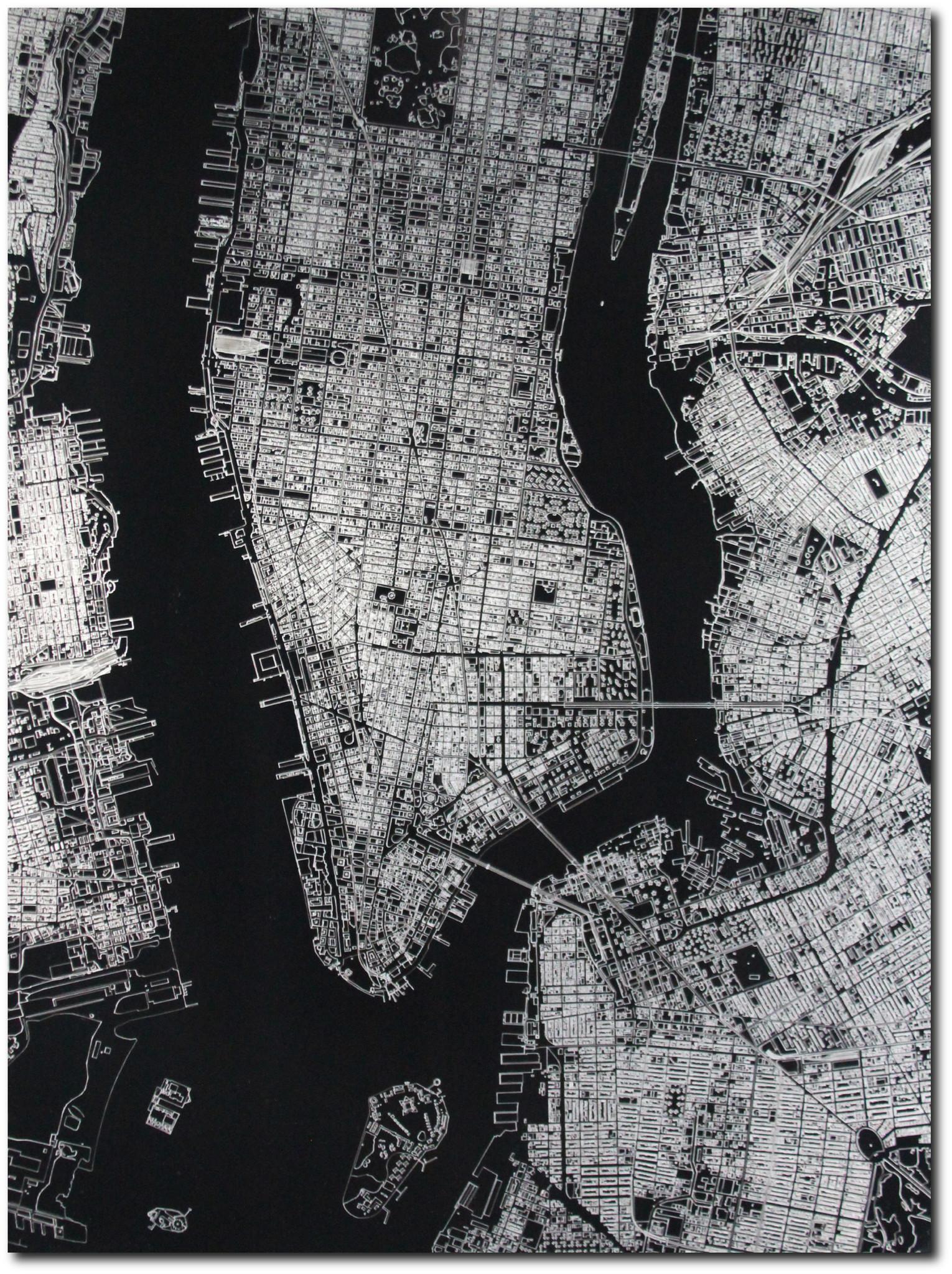 Citymap New York | Aluminium wanddecoratie-3