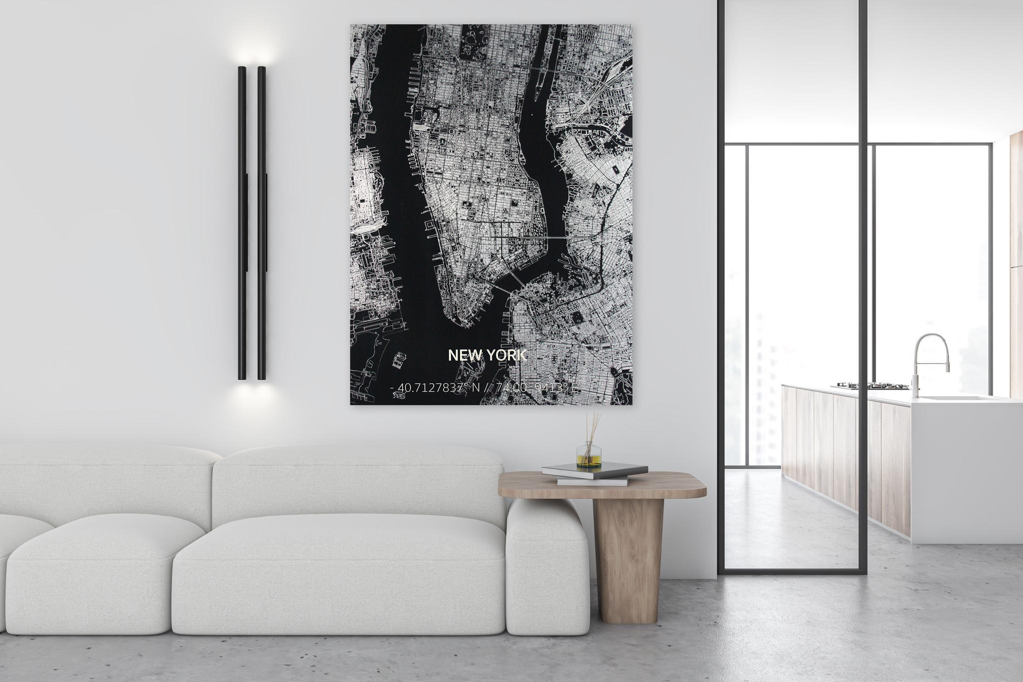 Citymap New York | Aluminium wanddecoratie-2