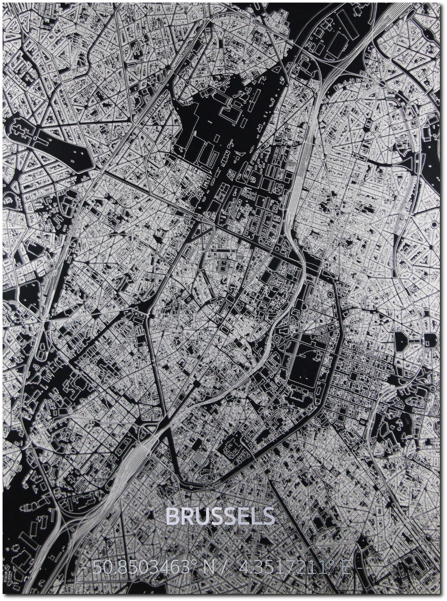 Citymap Brussel | Aluminium wanddecoratie-1