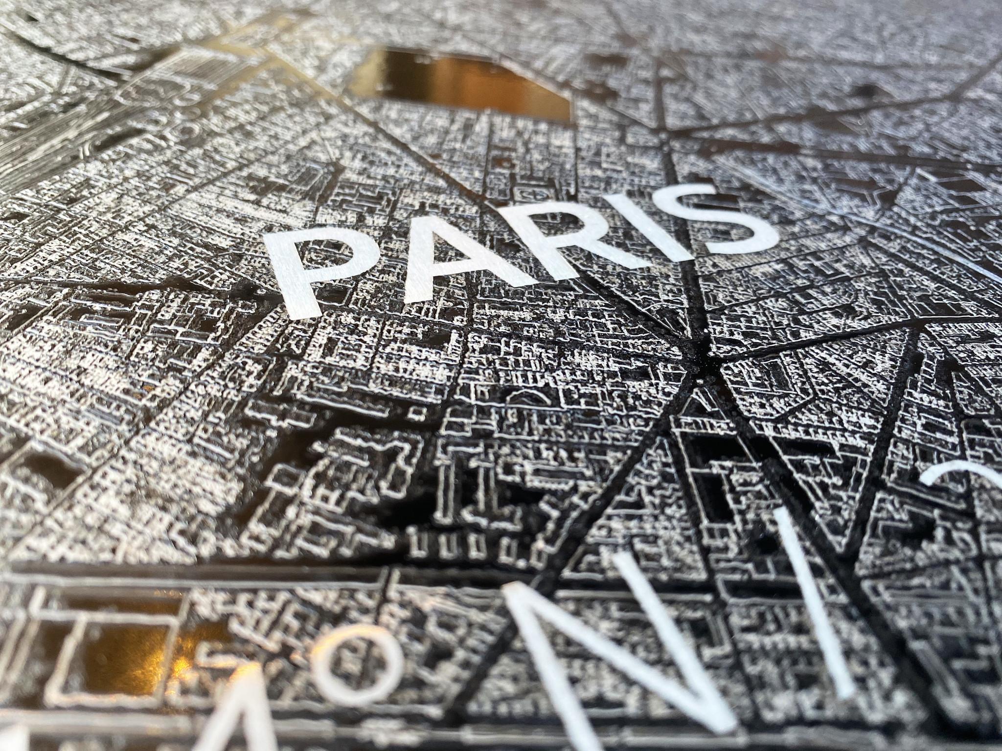 Citymap Paris | Aluminium Wanddekoration-2
