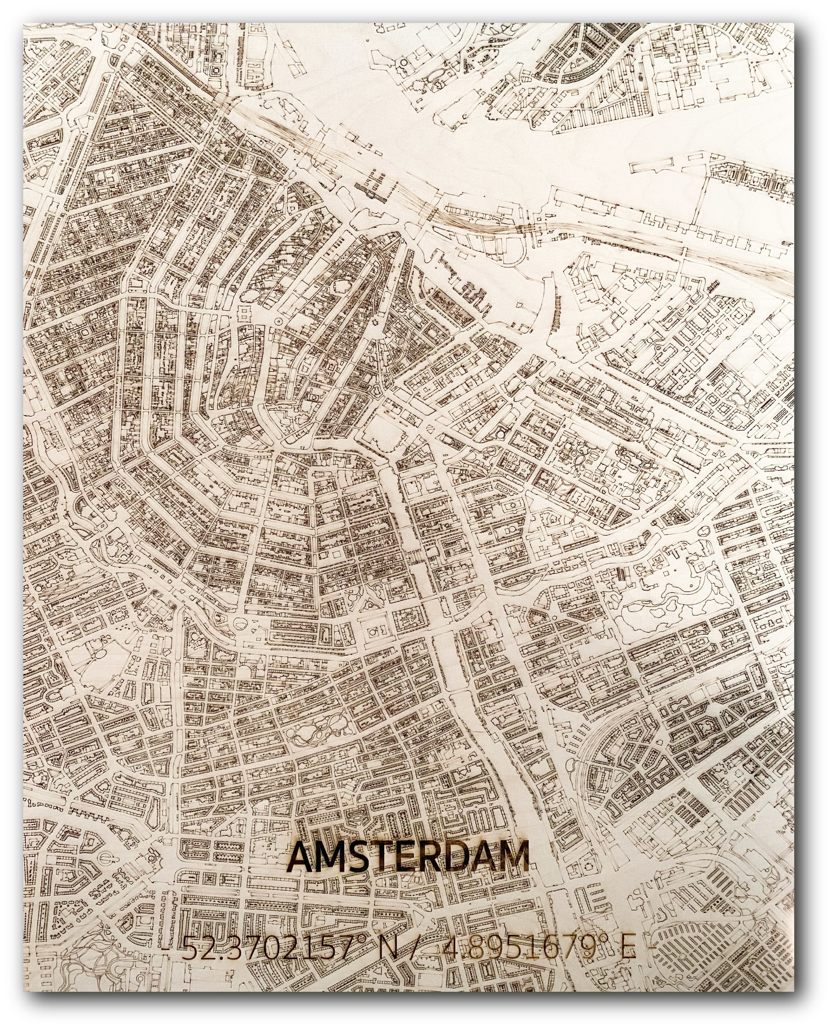 Wall decoration Citymap Amsterdam | Wooden wall panel-1