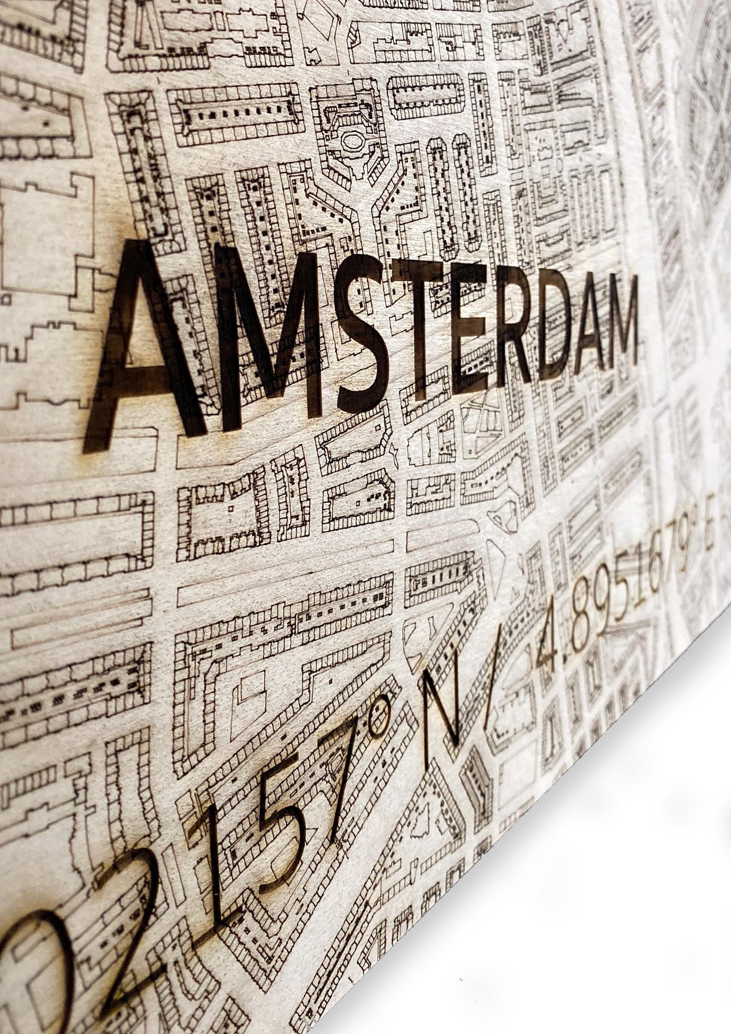 Wall decoration Citymap Amsterdam | Wooden wall panel-5