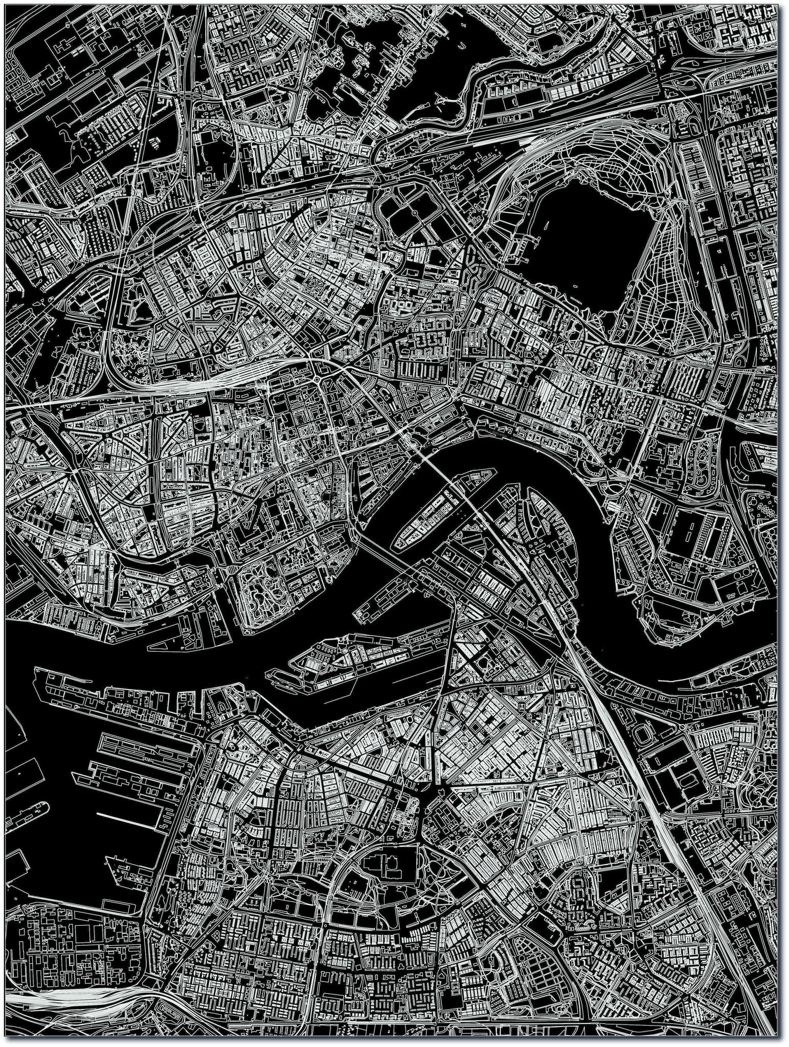 Citymap Rotterdam | Aluminium Wanddekoration-3