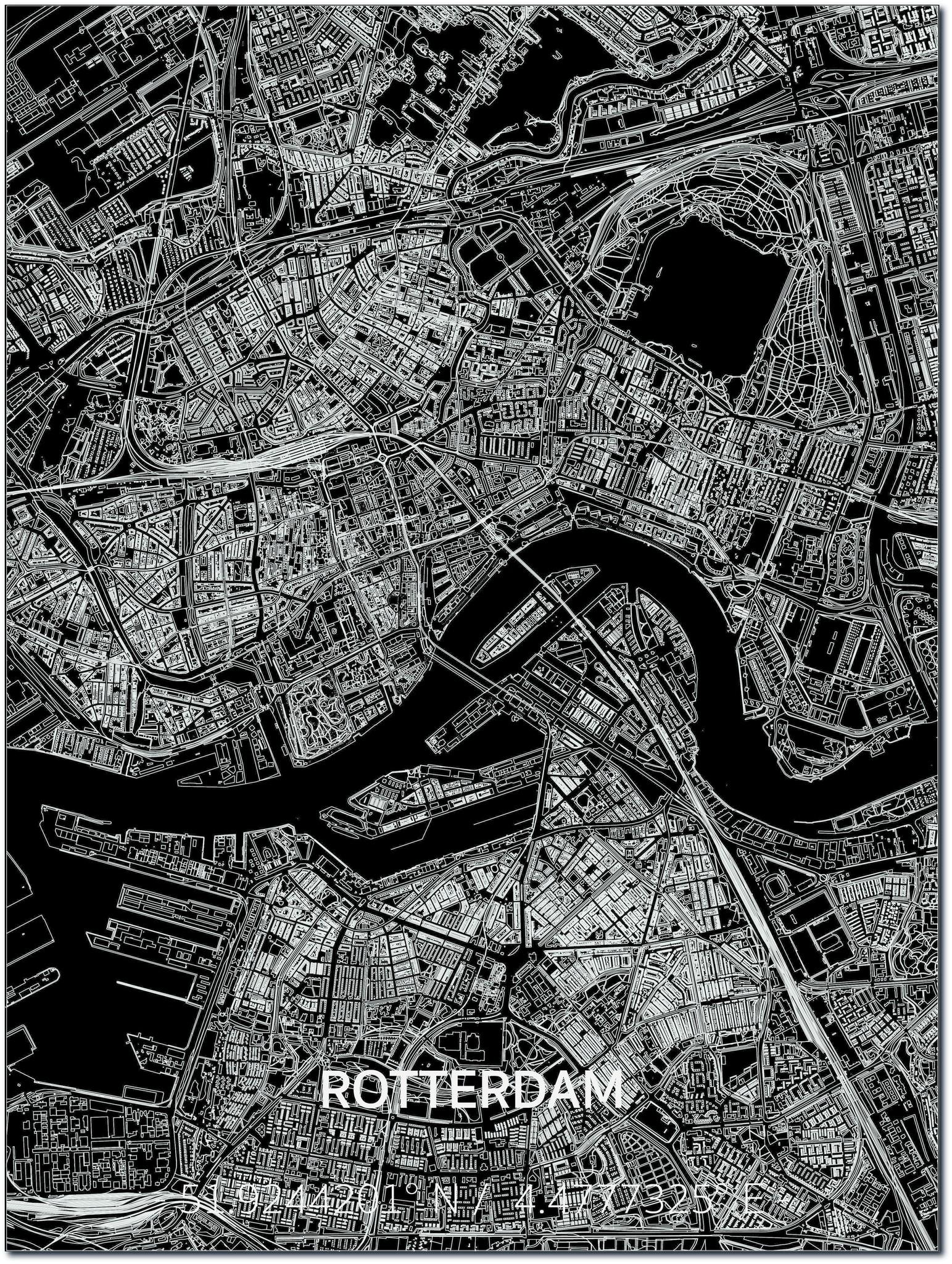 Citymap Rotterdam | Aluminium Wanddekoration-1
