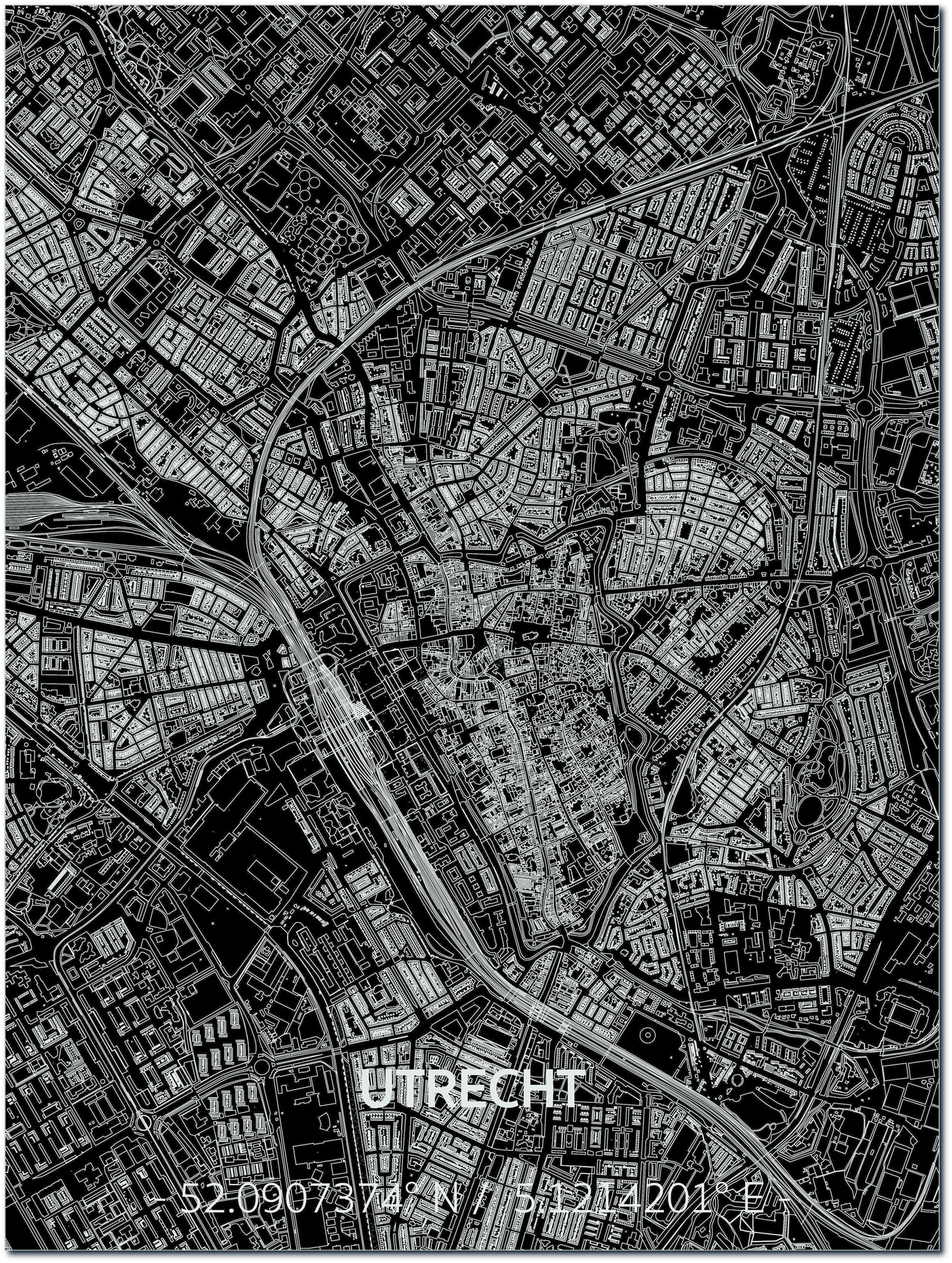 Citymap Utrecht | Aluminium Wanddekoration-1