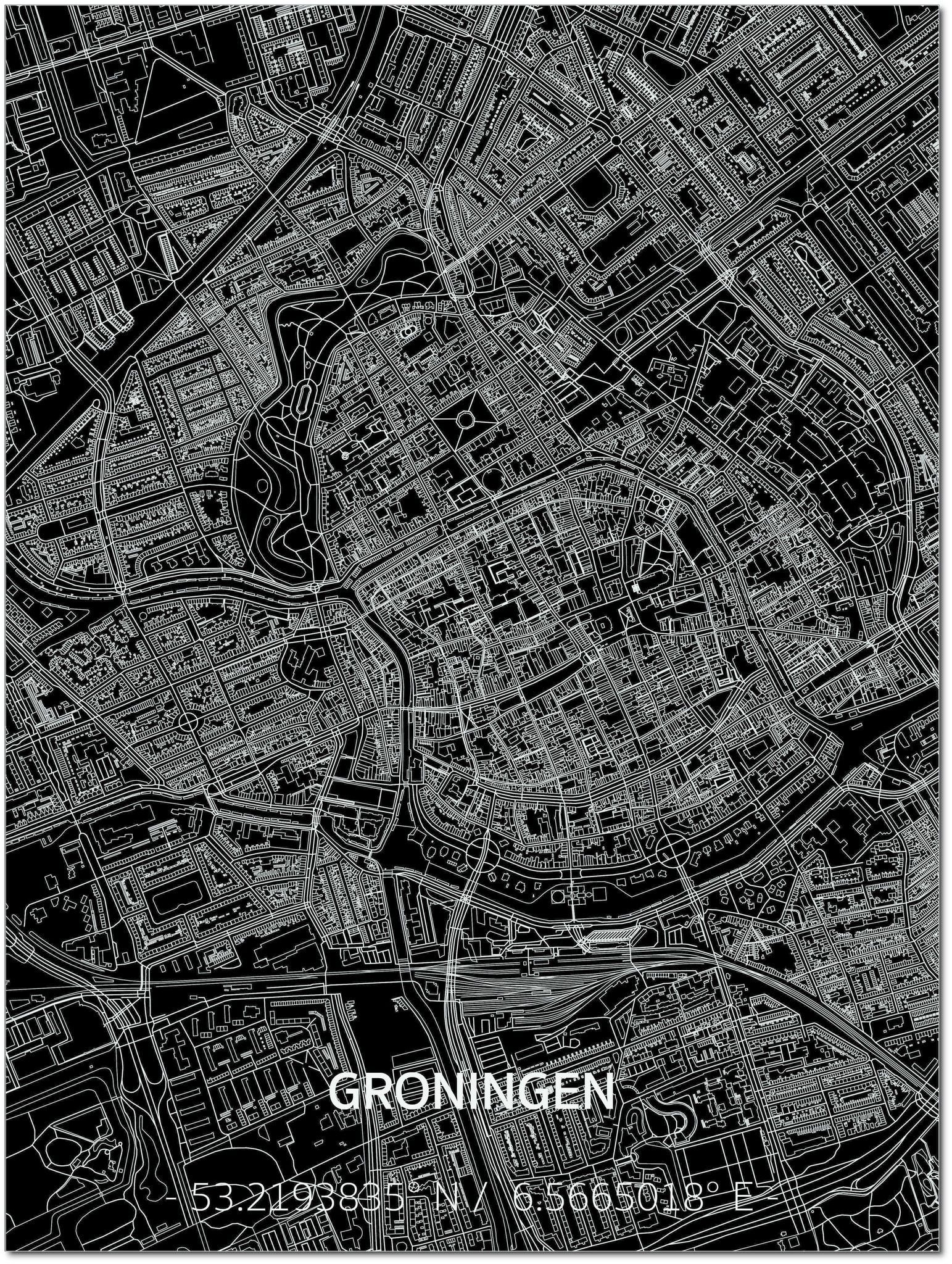 Citymap Groningen | Aluminium Wanddekoration-1