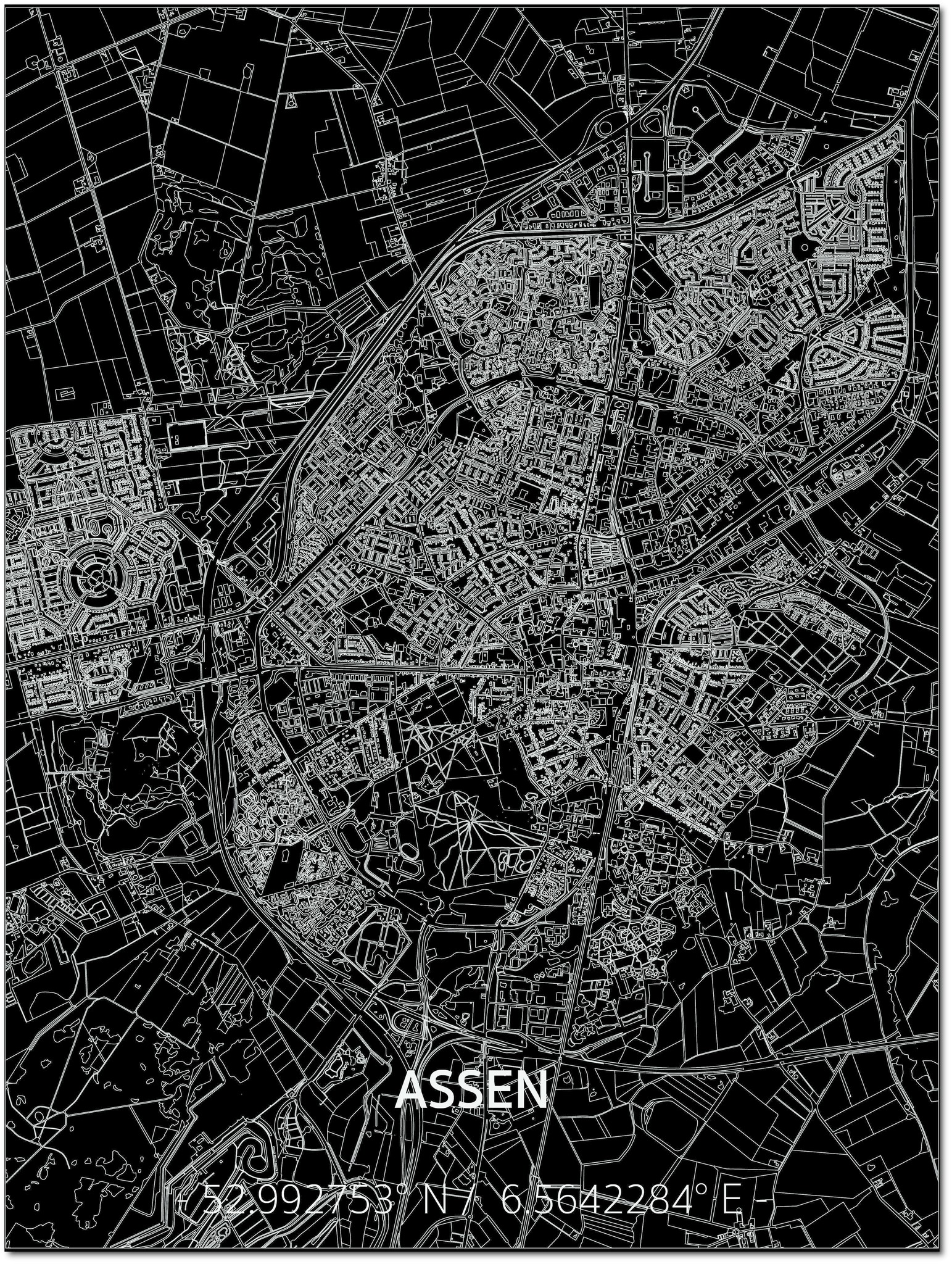 Citymap Assen | Aluminum wall decoration-1