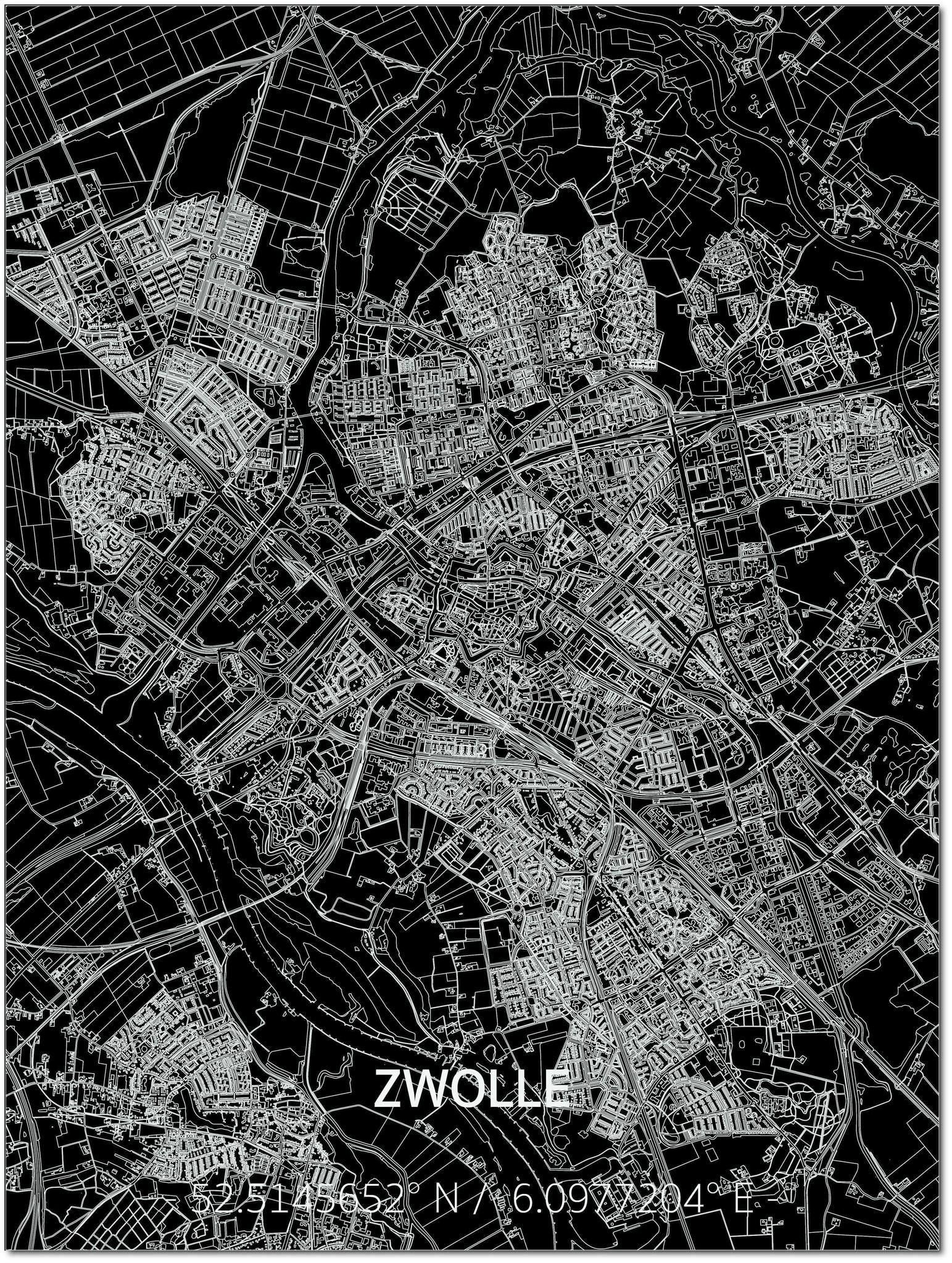 Citymap Zwolle | Aluminium Wanddekoration-1