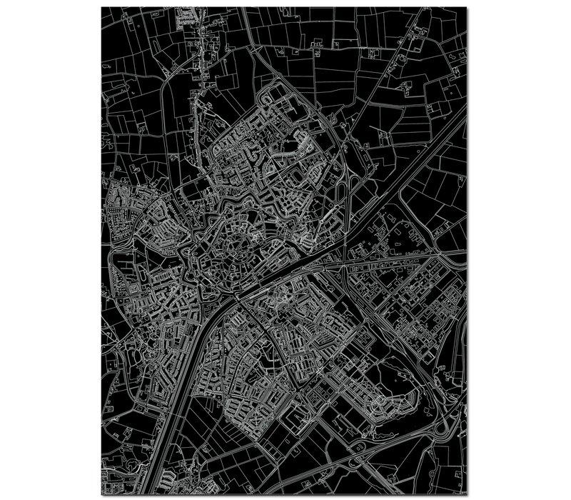 Citymap Middelburg | Aluminium Wanddekoration