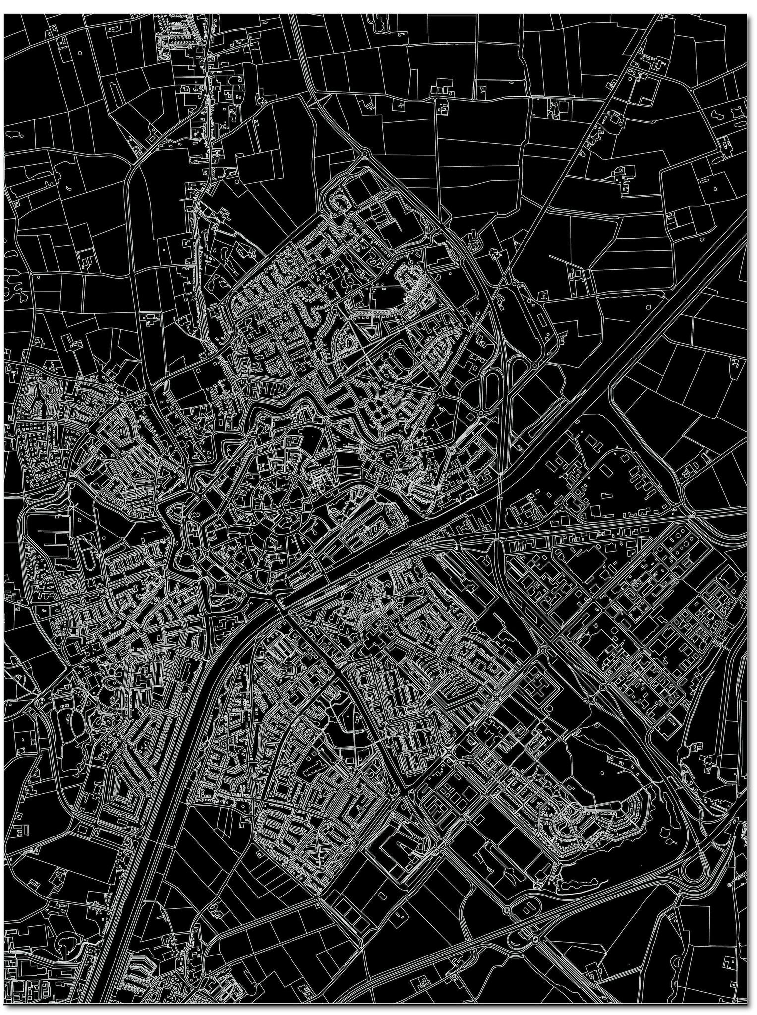 Citymap Middelburg | Aluminium Wanddekoration-3