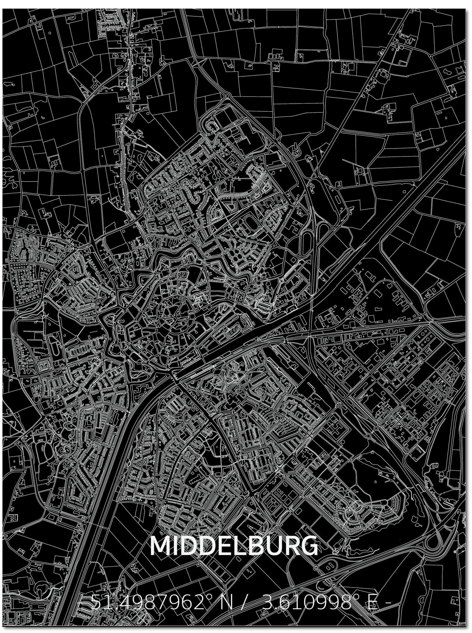 Citymap Middelburg | Aluminium Wanddekoration-1