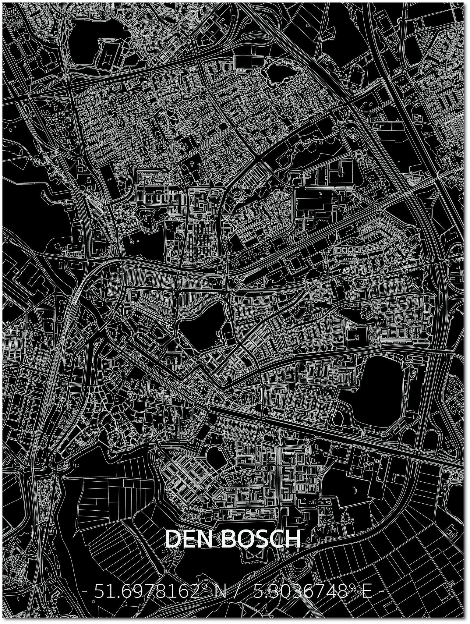 Citymap Den Bosch | Aluminium wanddecoratie-1