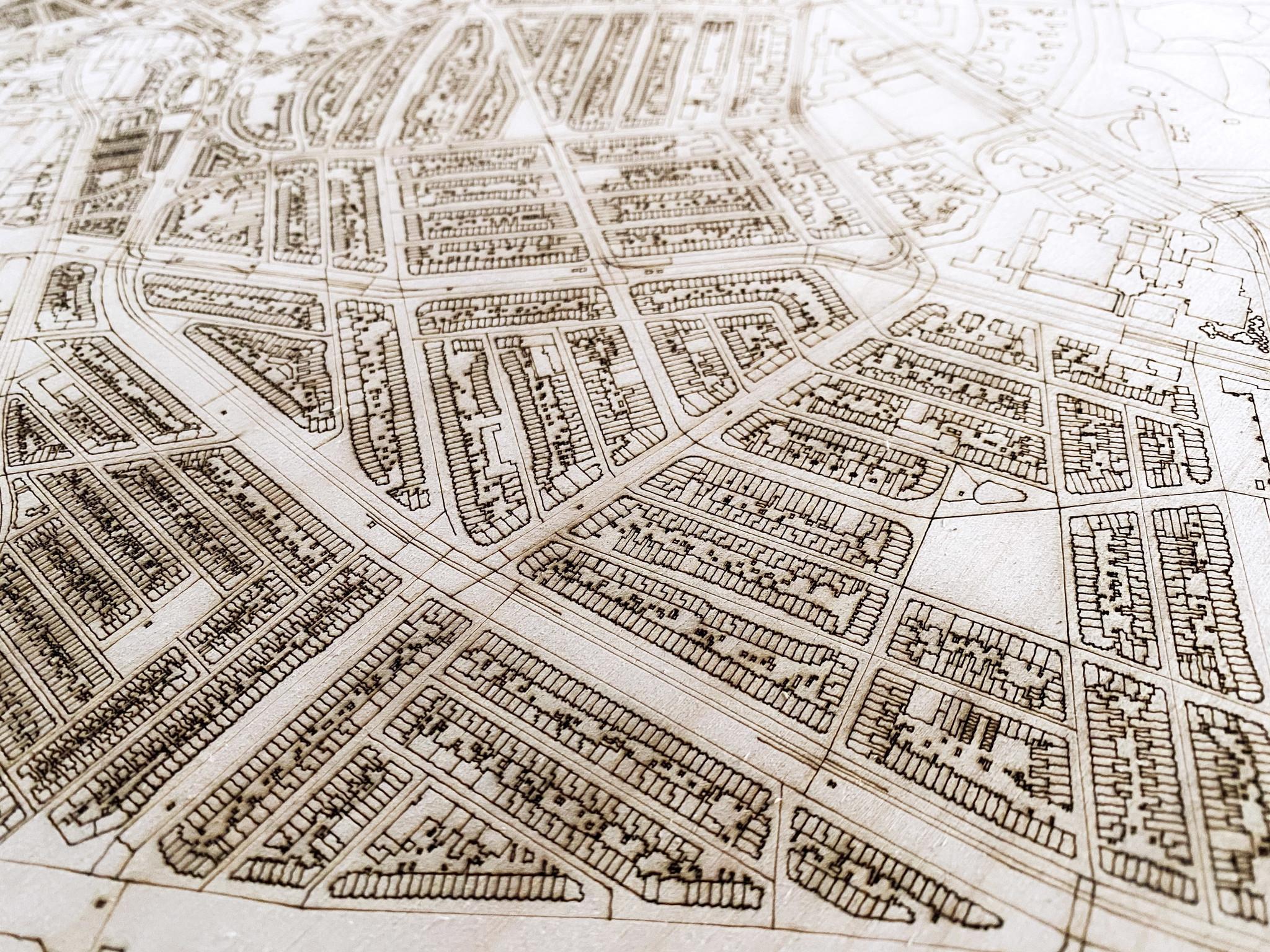 WOODEN WALL DECORATION Den Haag CITYMAP XL-3