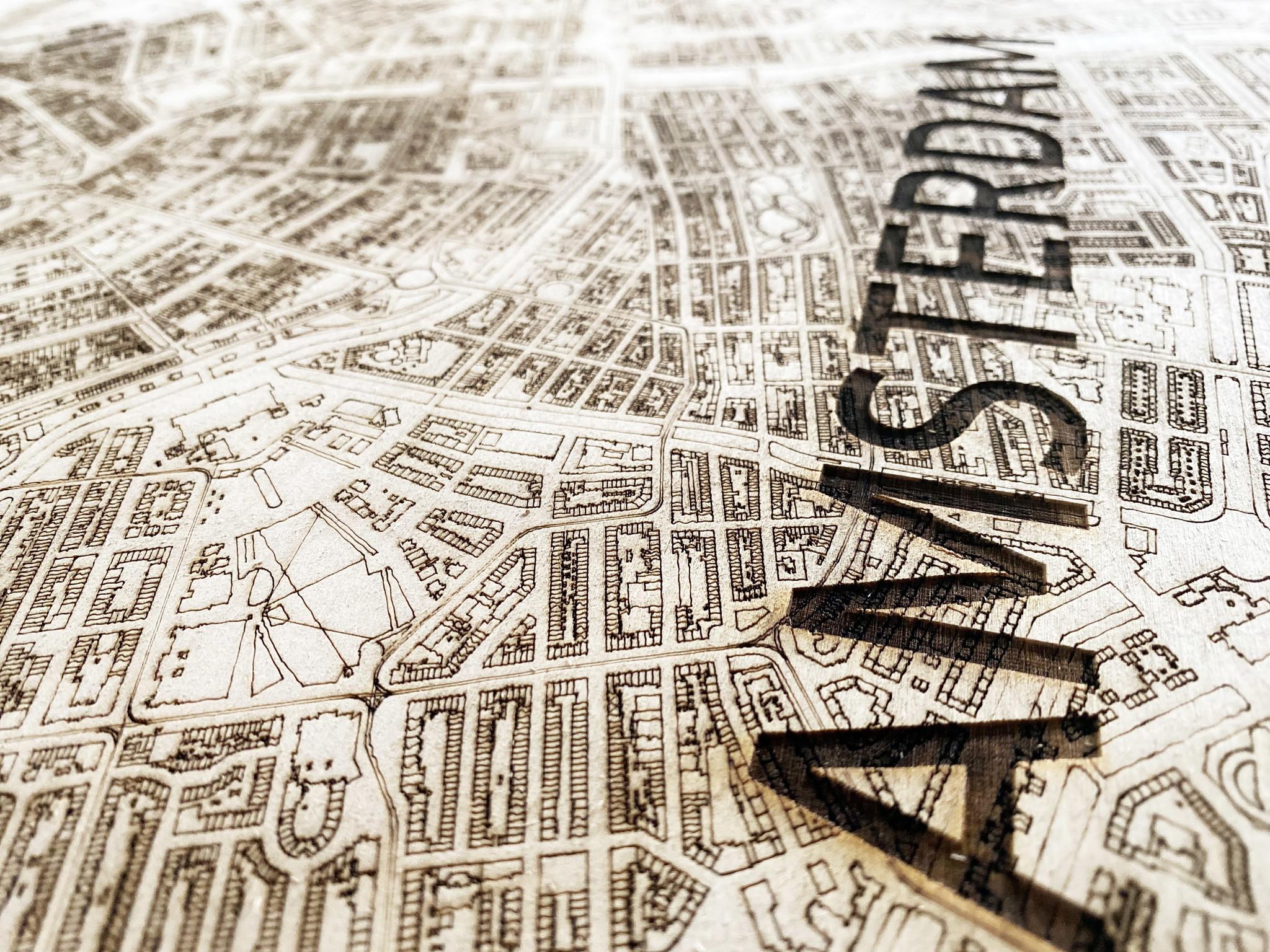 Wooden wall decoration Citymap Amsterdam XL-4