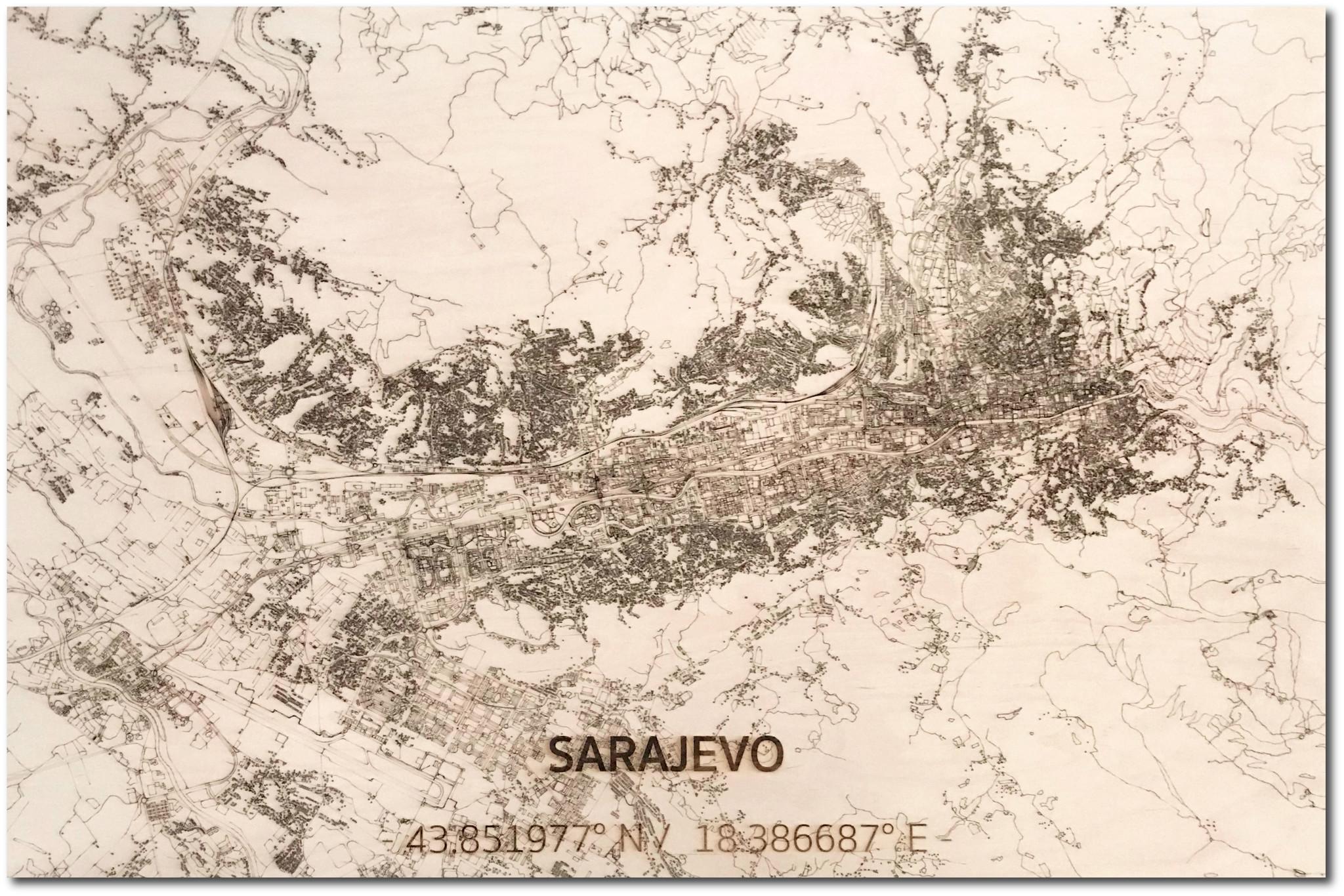 Wanddekoration aus Holz Wandbild Sarajevo XL Stadtplan-1
