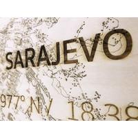 Wanddekoration aus Holz Wandbild Sarajevo XL Stadtplan