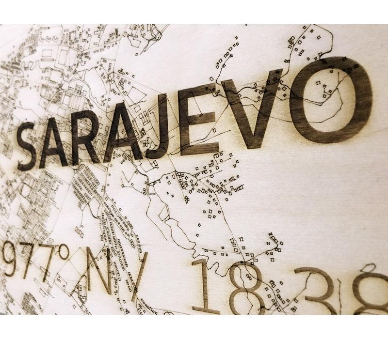 Citymap Sarajevo XL | Houten wanddecoratie