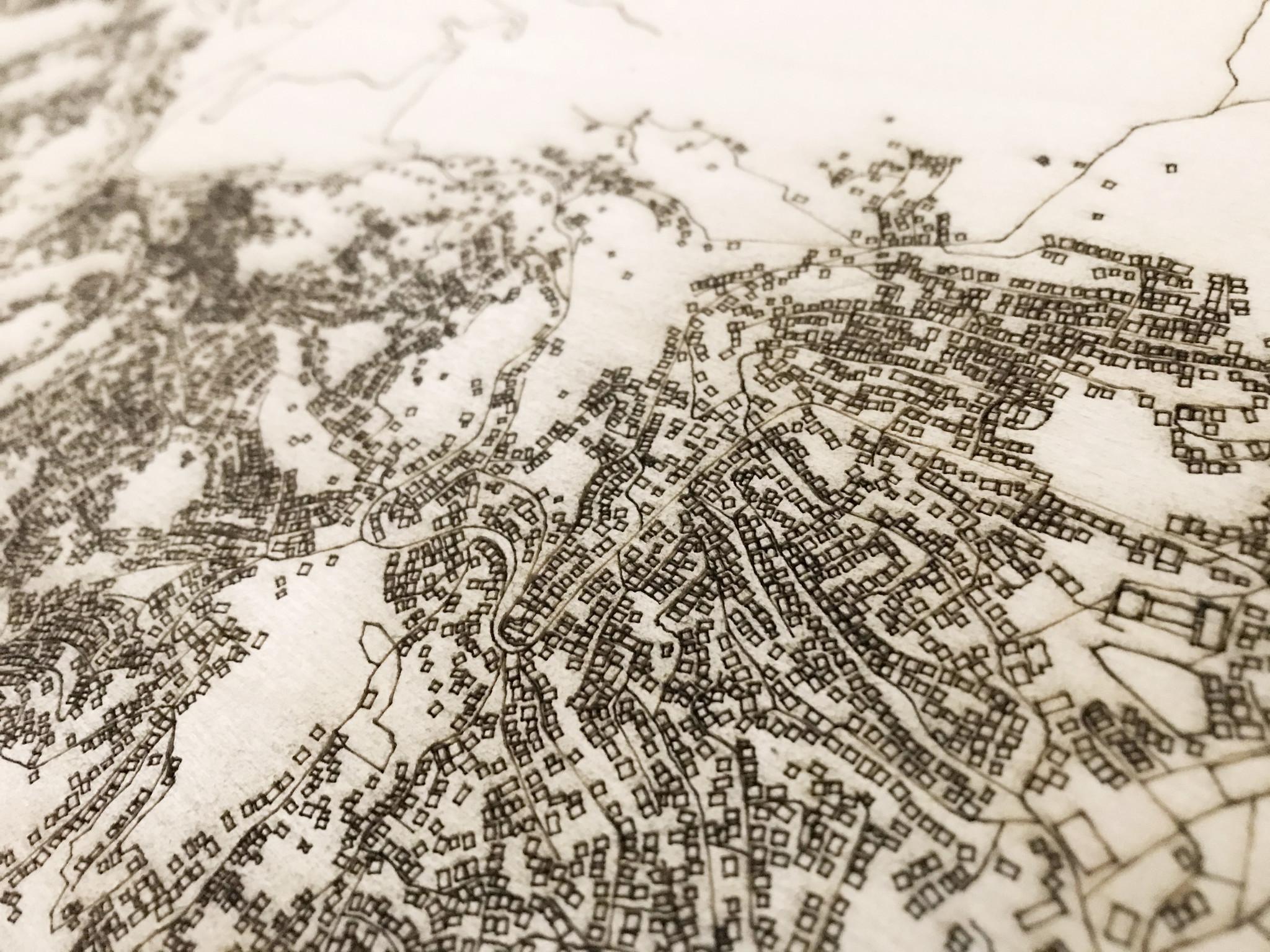 Wanddekoration aus Holz Wandbild Sarajevo XL Stadtplan-2