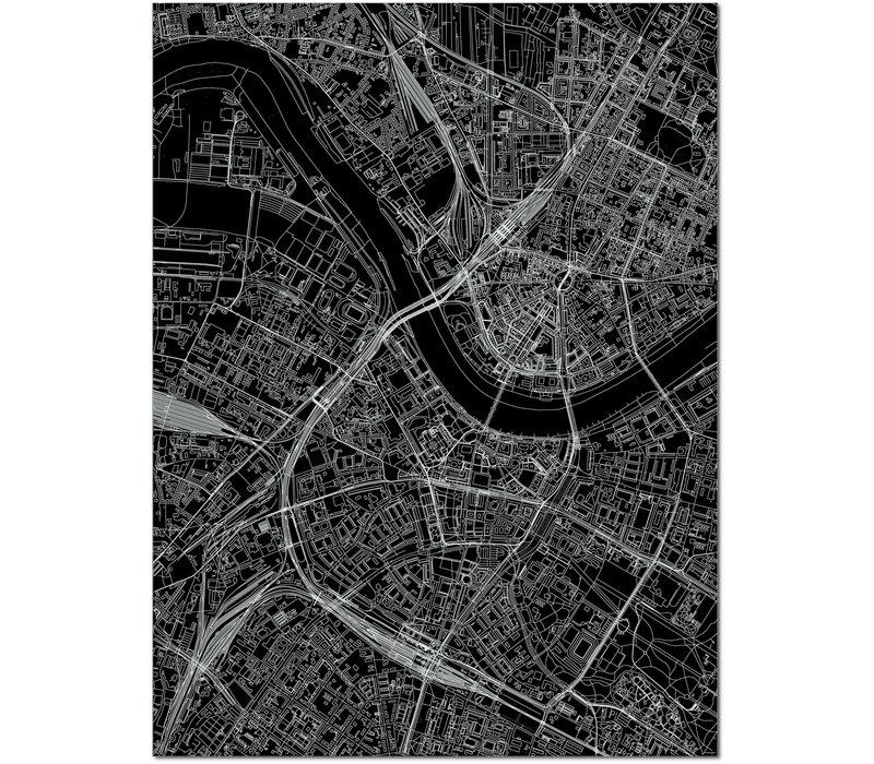 Stadtkarte Dresden | Aluminium Wanddekoration