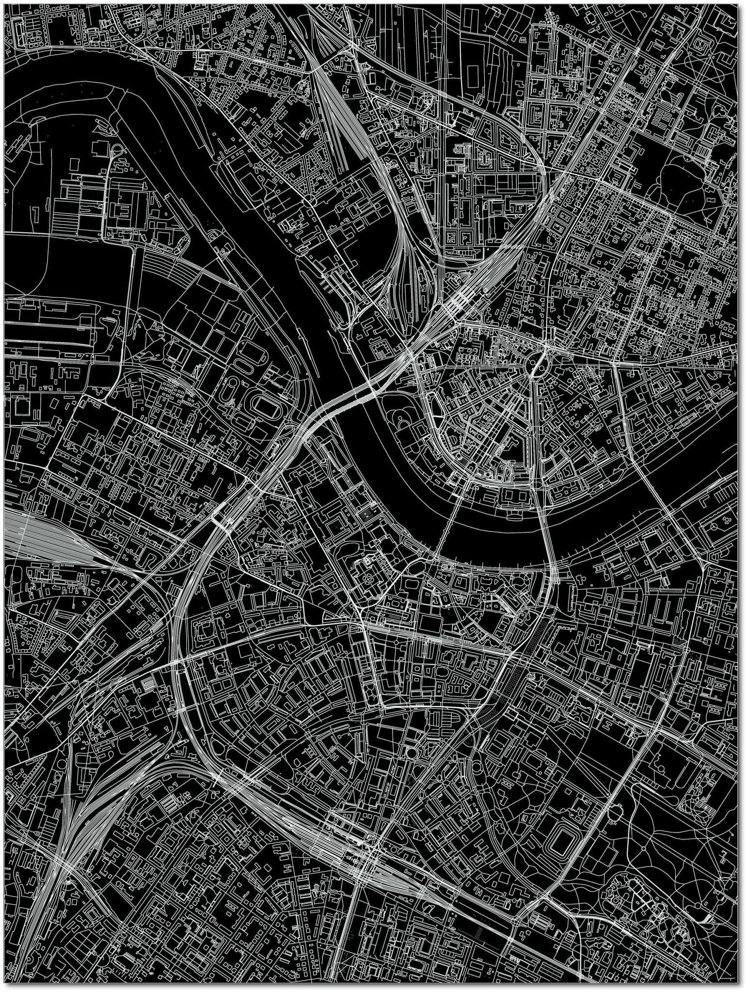 Stadtkarte Dresden | Aluminium Wanddekoration-3