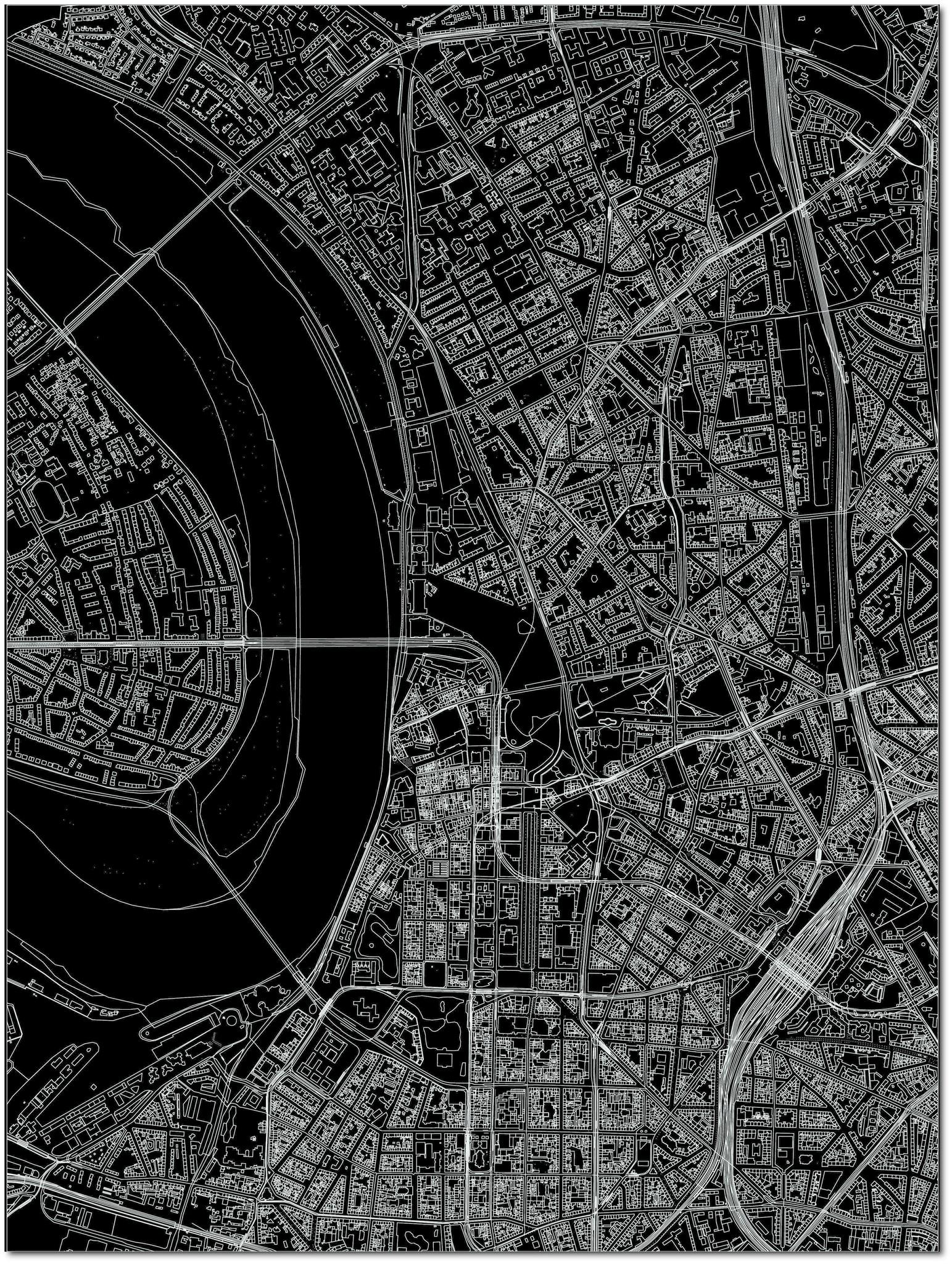 Citymap Düsseldorf | Aluminium wanddecoratie-3