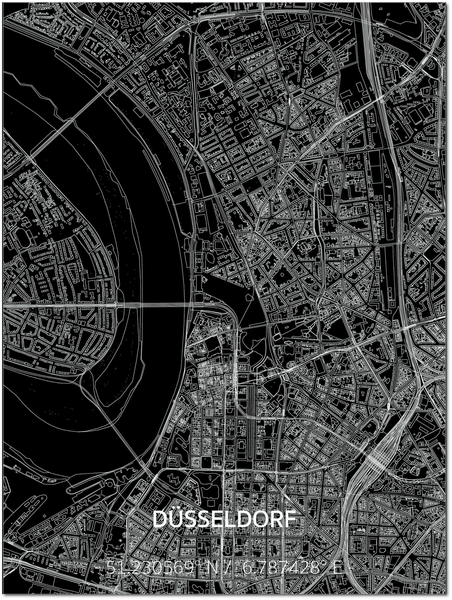 Citymap Düsseldorf | Aluminium wanddecoratie-1