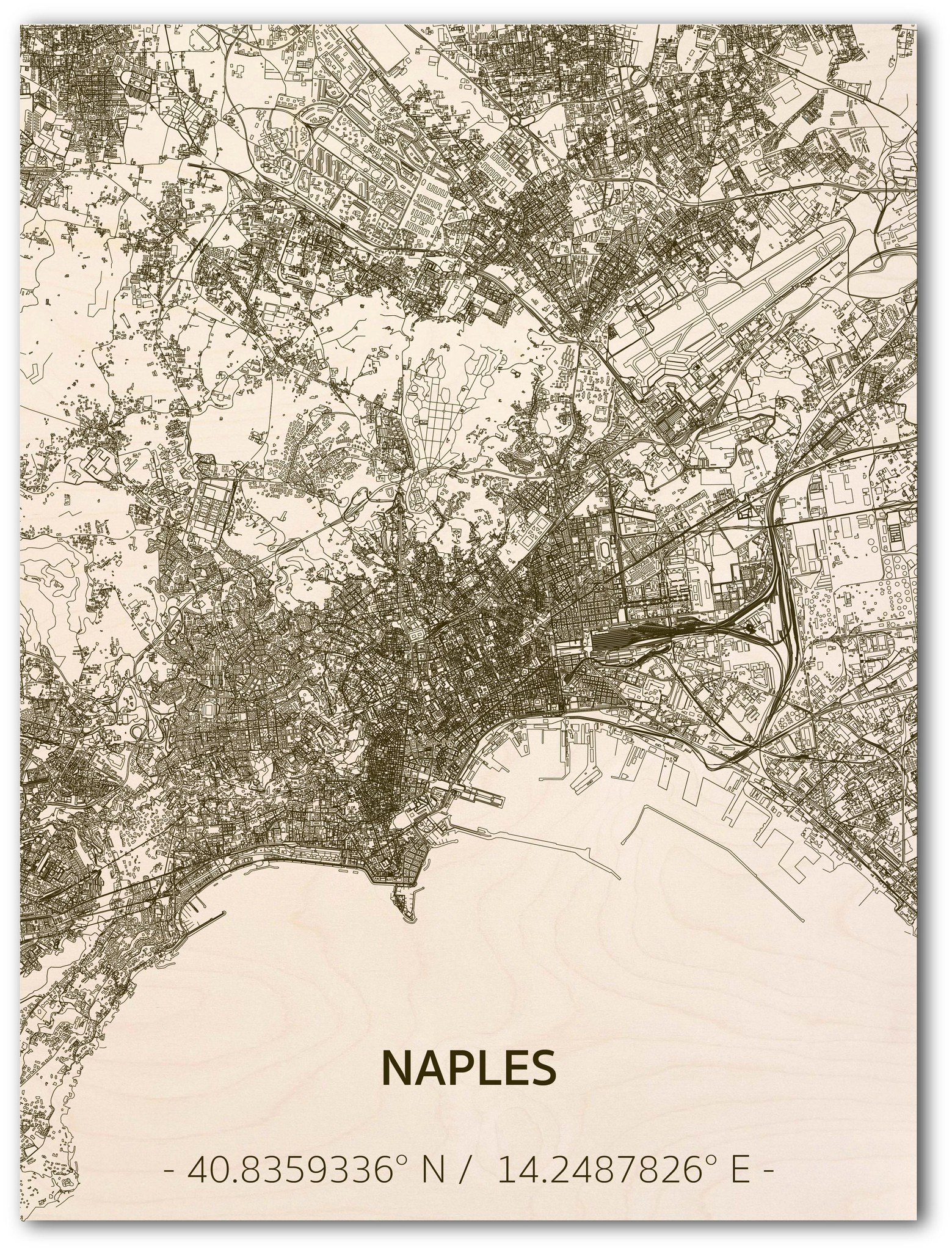 Citymap Napels | houten wanddecoratie-1