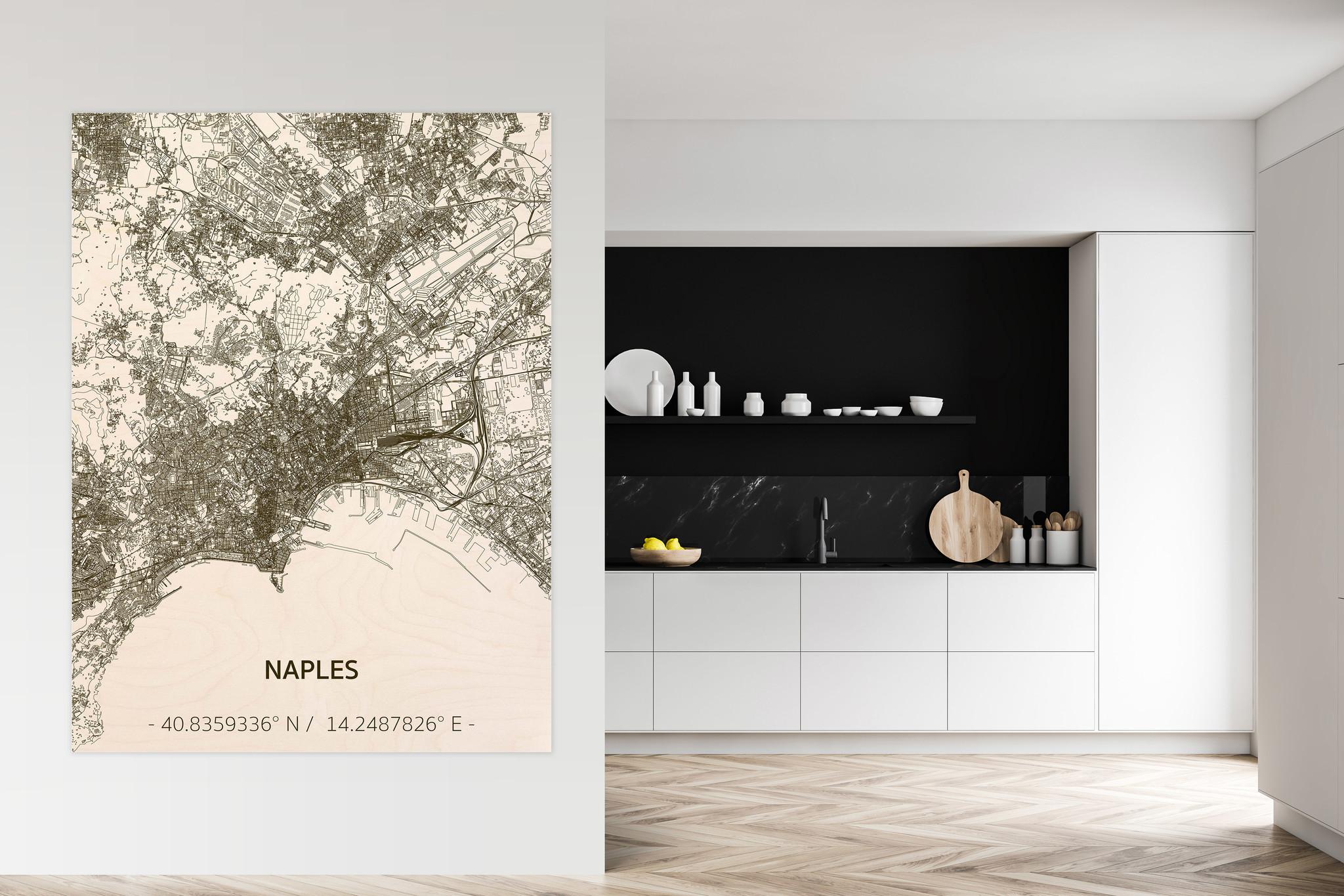 Citymap Napels | houten wanddecoratie-2