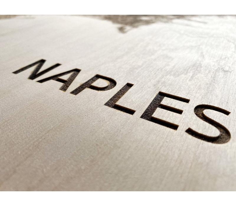 Stadtplan Neapel | Wanddekoration Holz