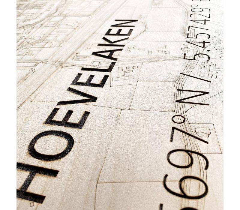 Citymap Hoevelaken | houten wanddecoratie