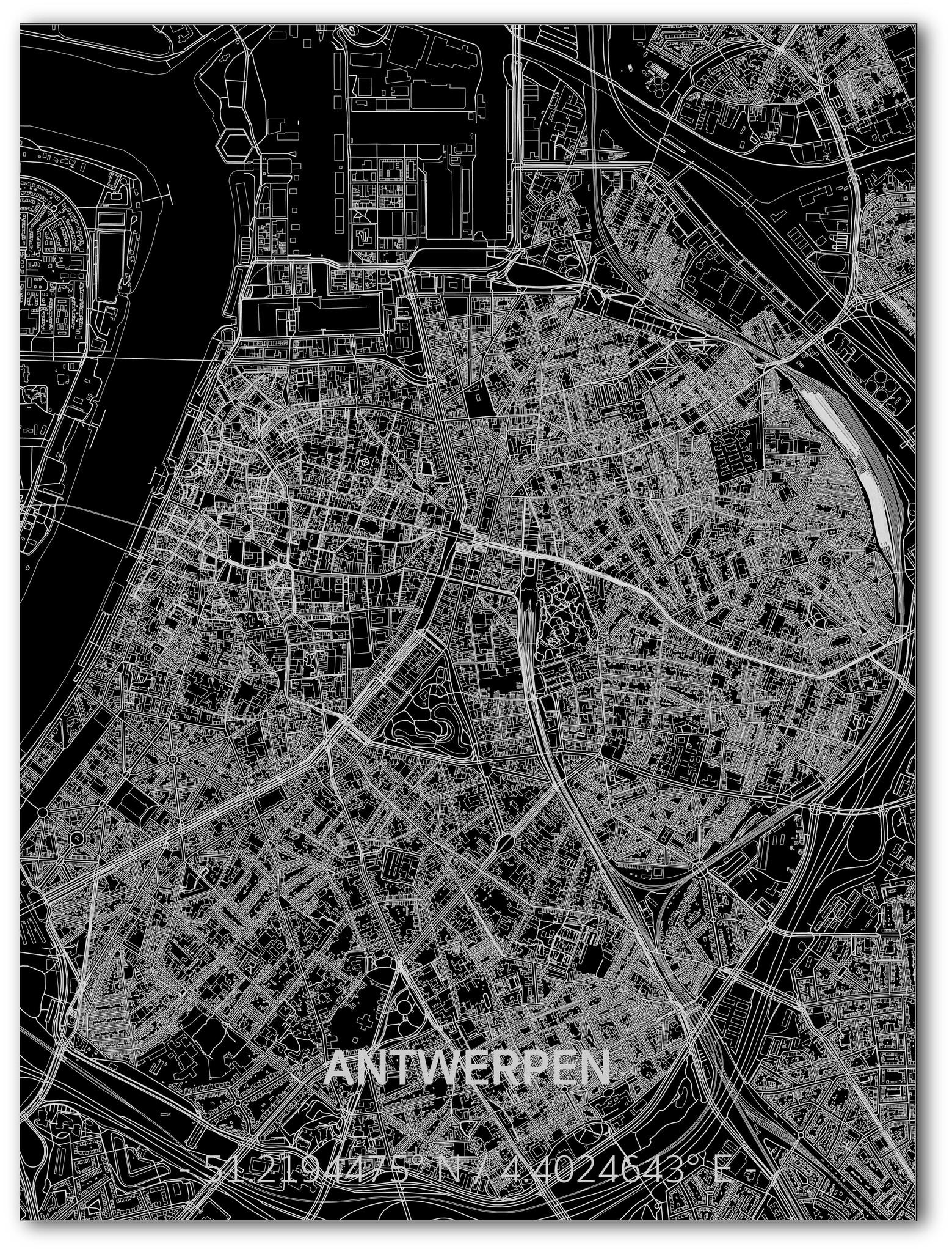 Citymap Antwerpen | Aluminium wanddecoratie-1