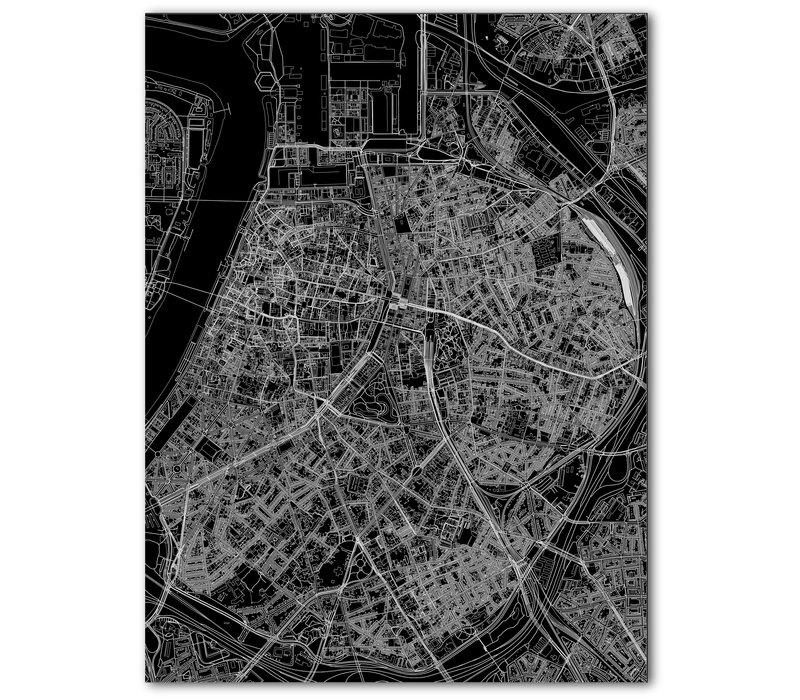 Stadtkarte Antwerpen | Aluminium Wanddekoration