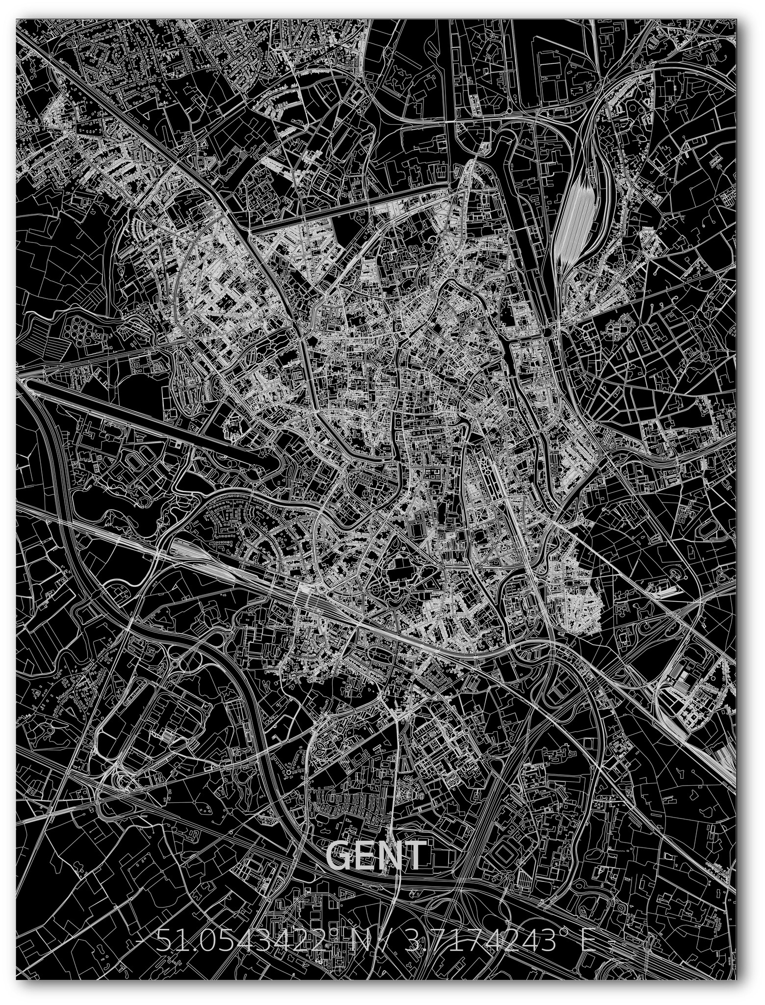 Citymap Gent | Aluminium wanddecoratie-1
