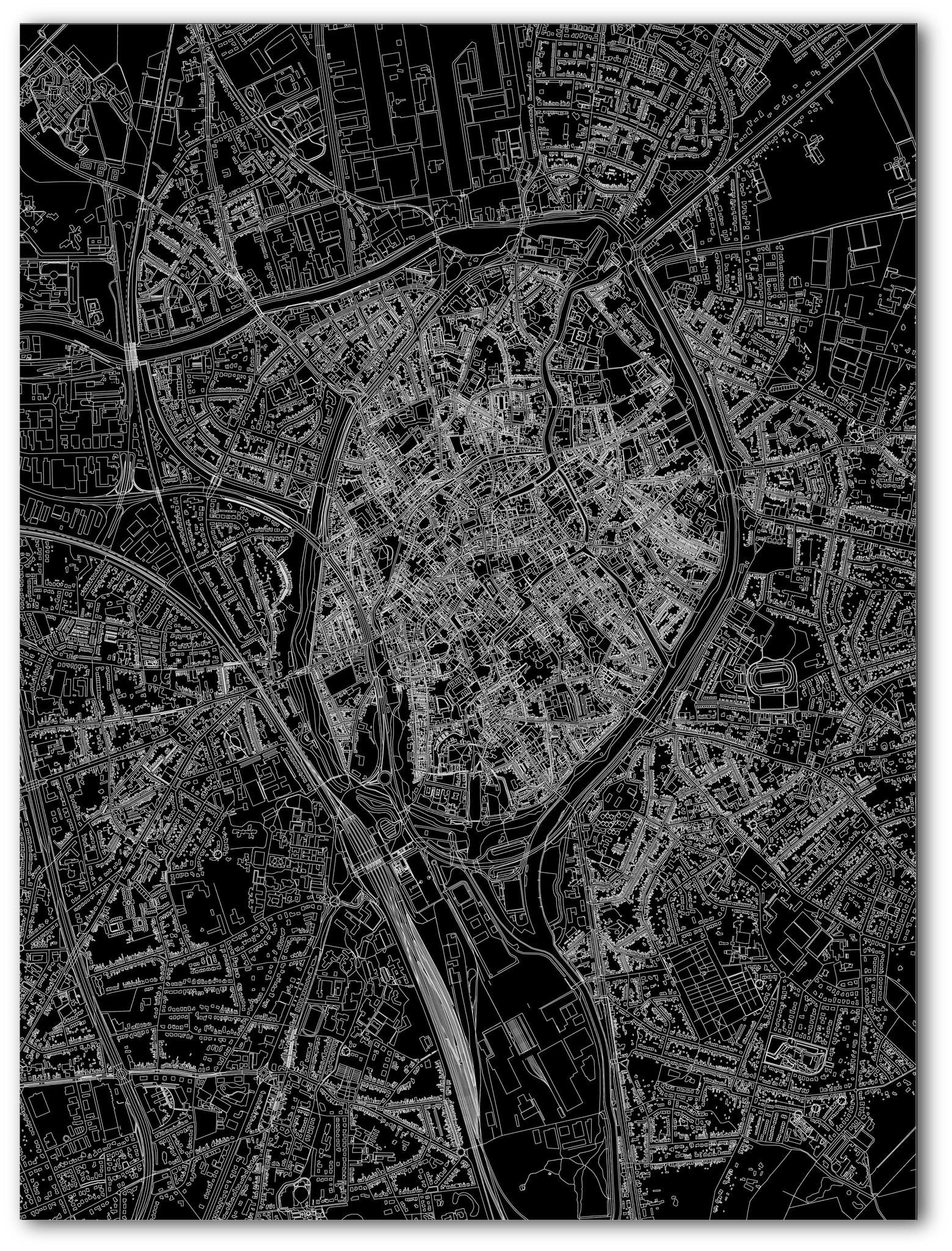 Citymap Brugge | Aluminium wanddecoratie-3