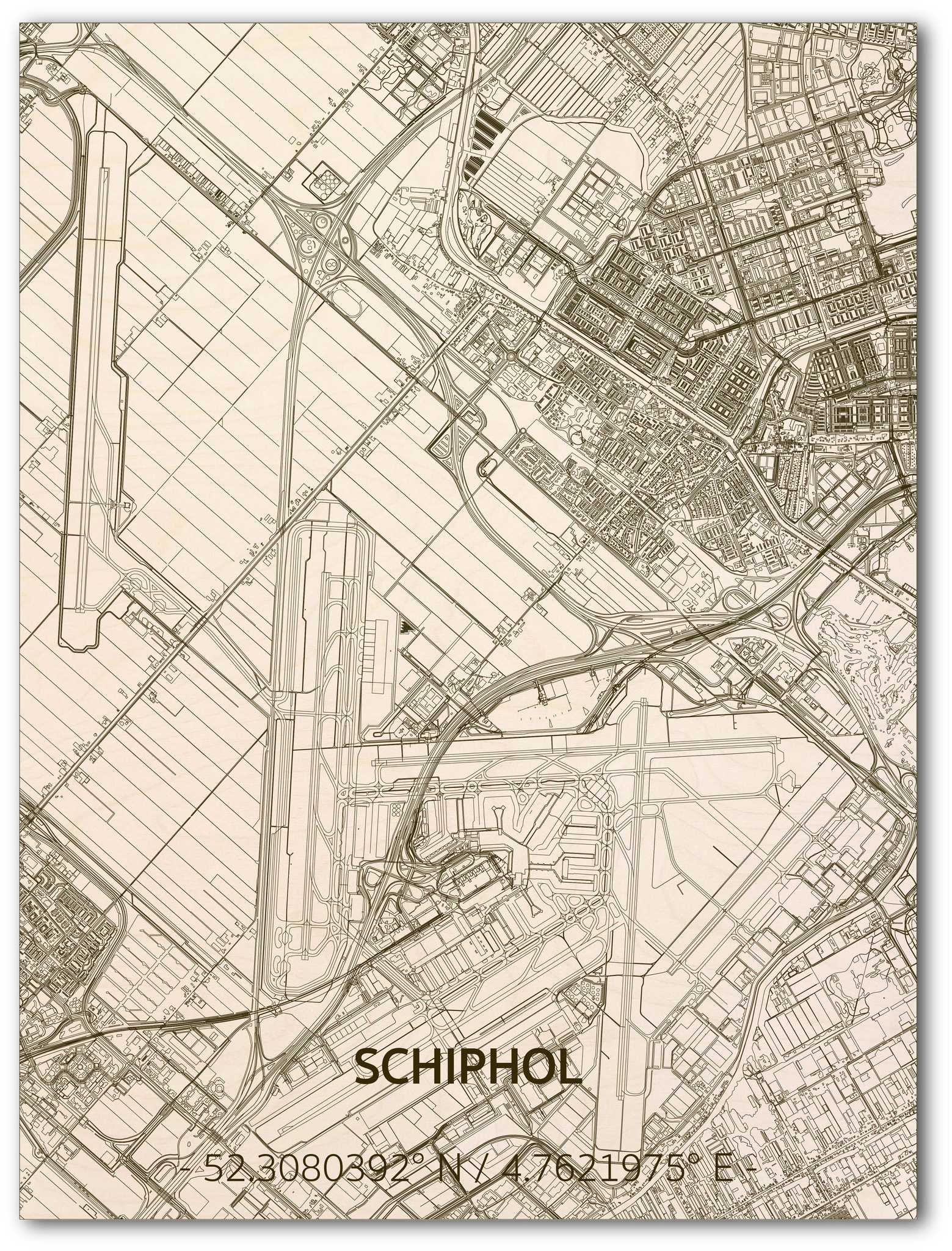Citymap Schiphol | wooden wall decoration-1